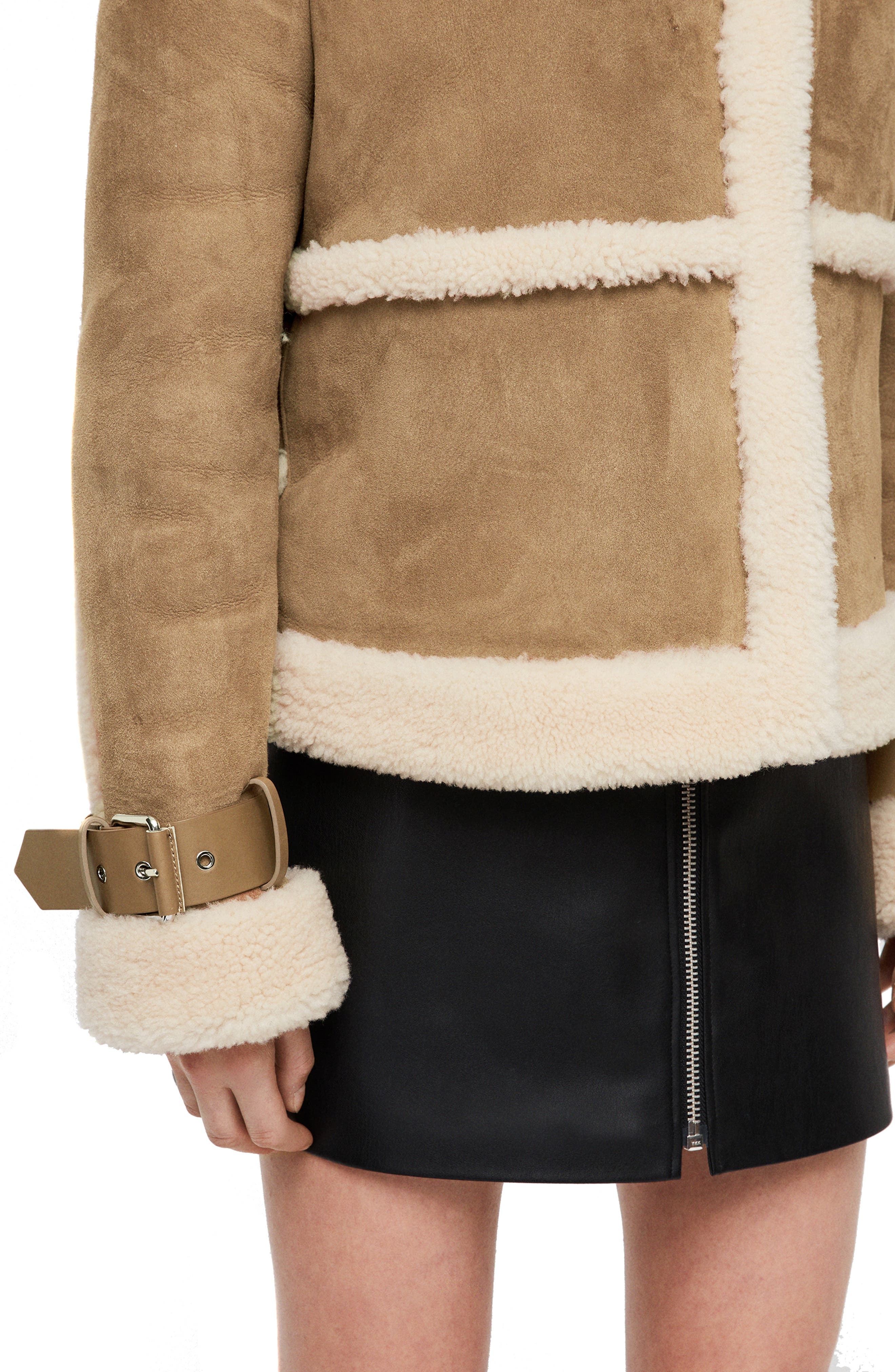 Farley Genuine Shearling Jacket,                             Alternate thumbnail 4, color,                             SAND BROWN/ ECRU