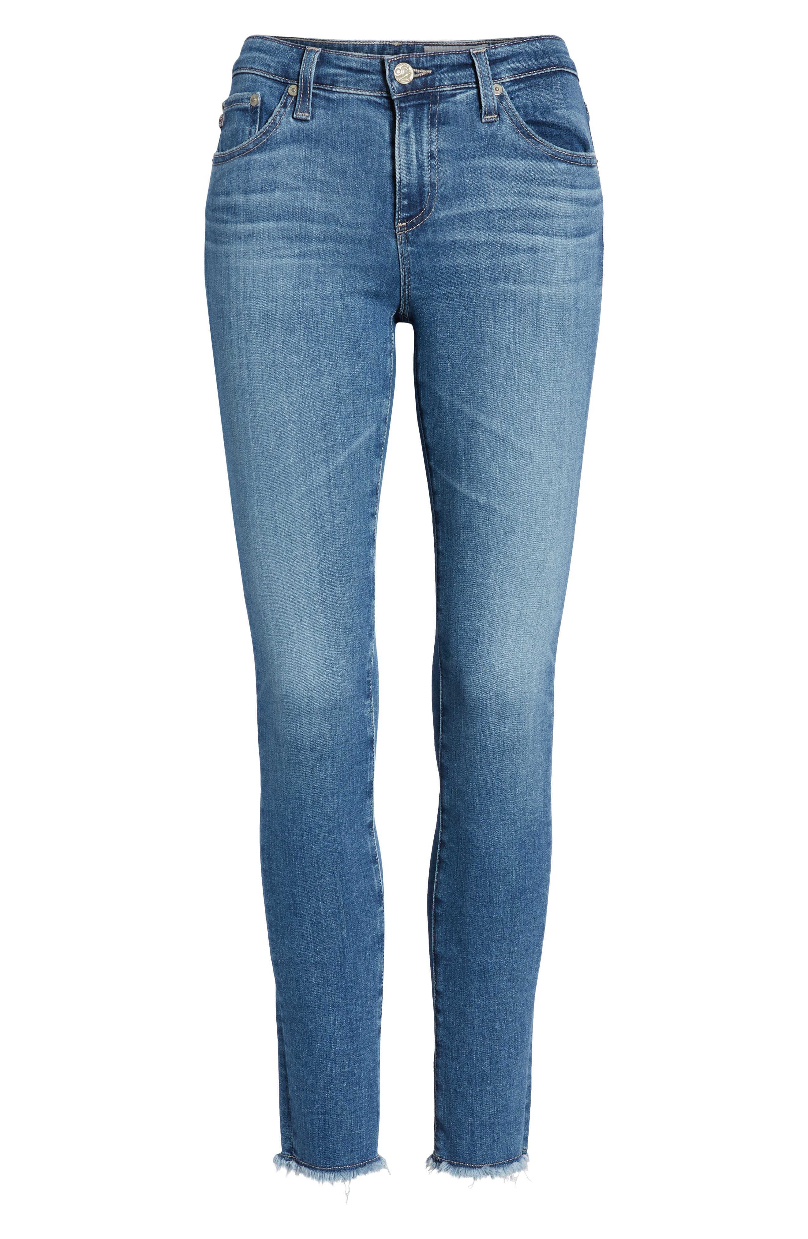 AG,                             The Legging Frayed Ankle Super Skinny Jeans,                             Alternate thumbnail 7, color,                             15 YEAR AFFINITY