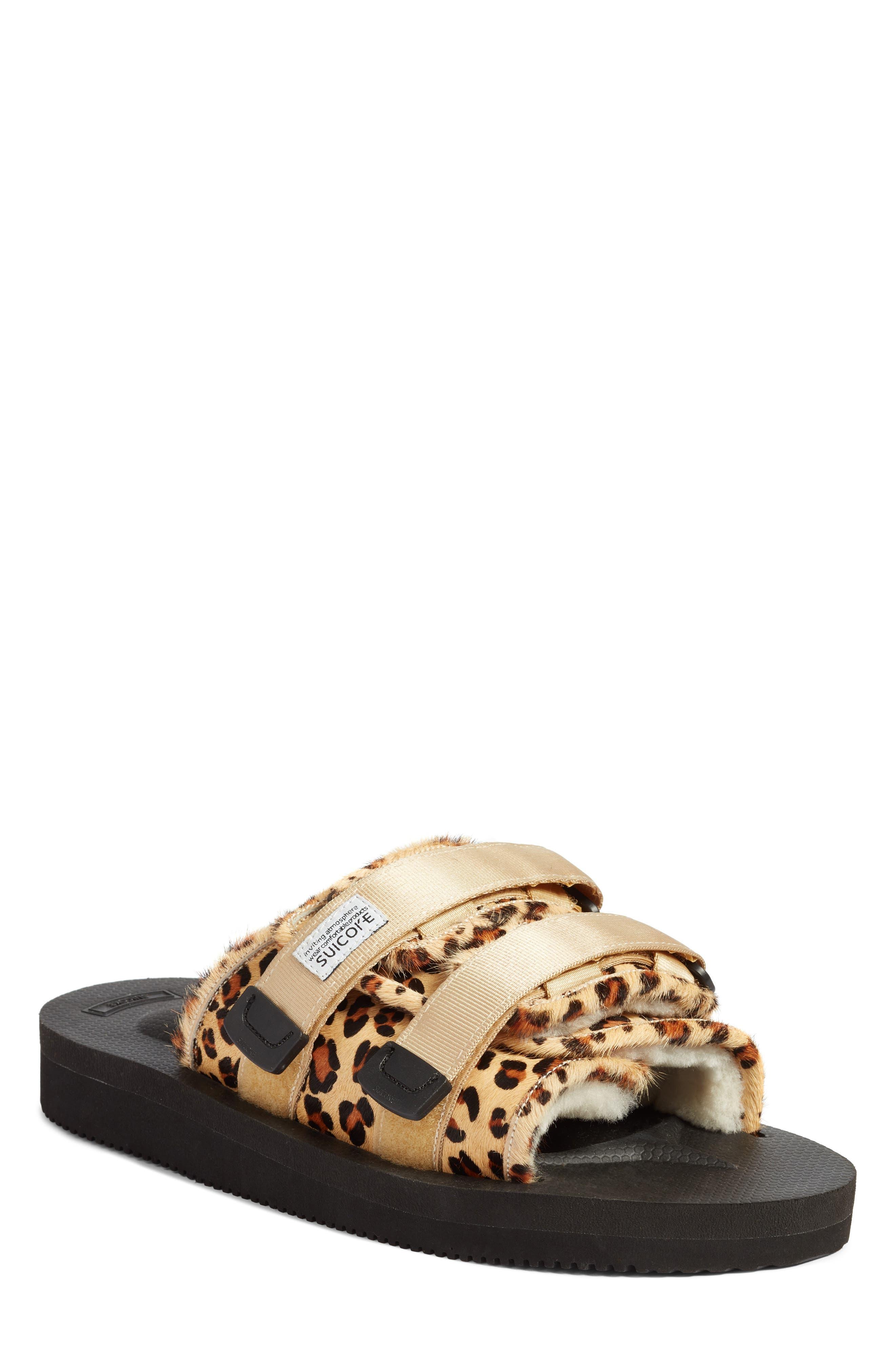 Moto Cab Genuine Calf Hair Slide Sandal,                             Main thumbnail 1, color,                             LEOPARD PRINT CALF HAIR