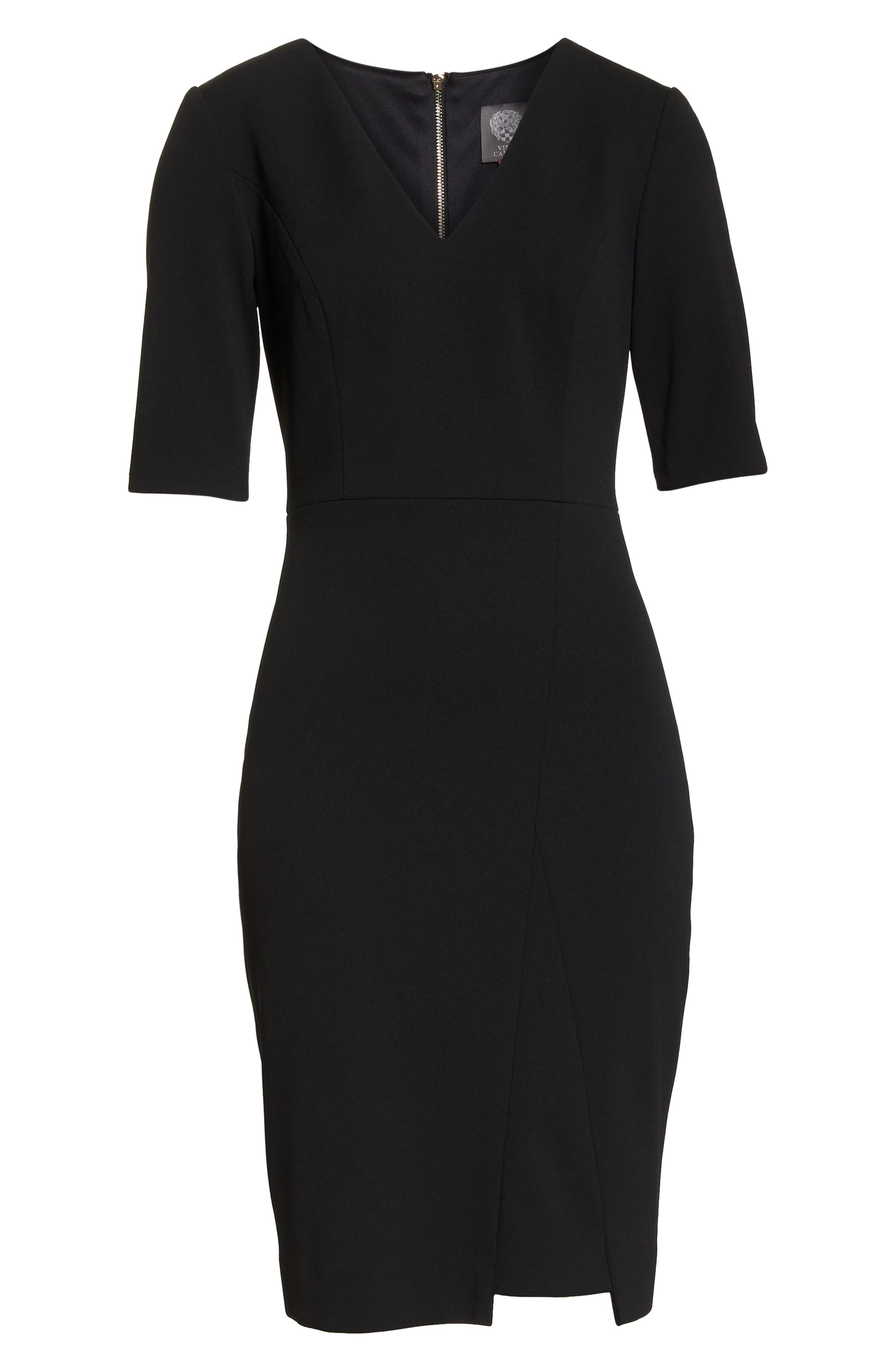 Scuba Crepe Dress,                             Alternate thumbnail 7, color,                             BLACK