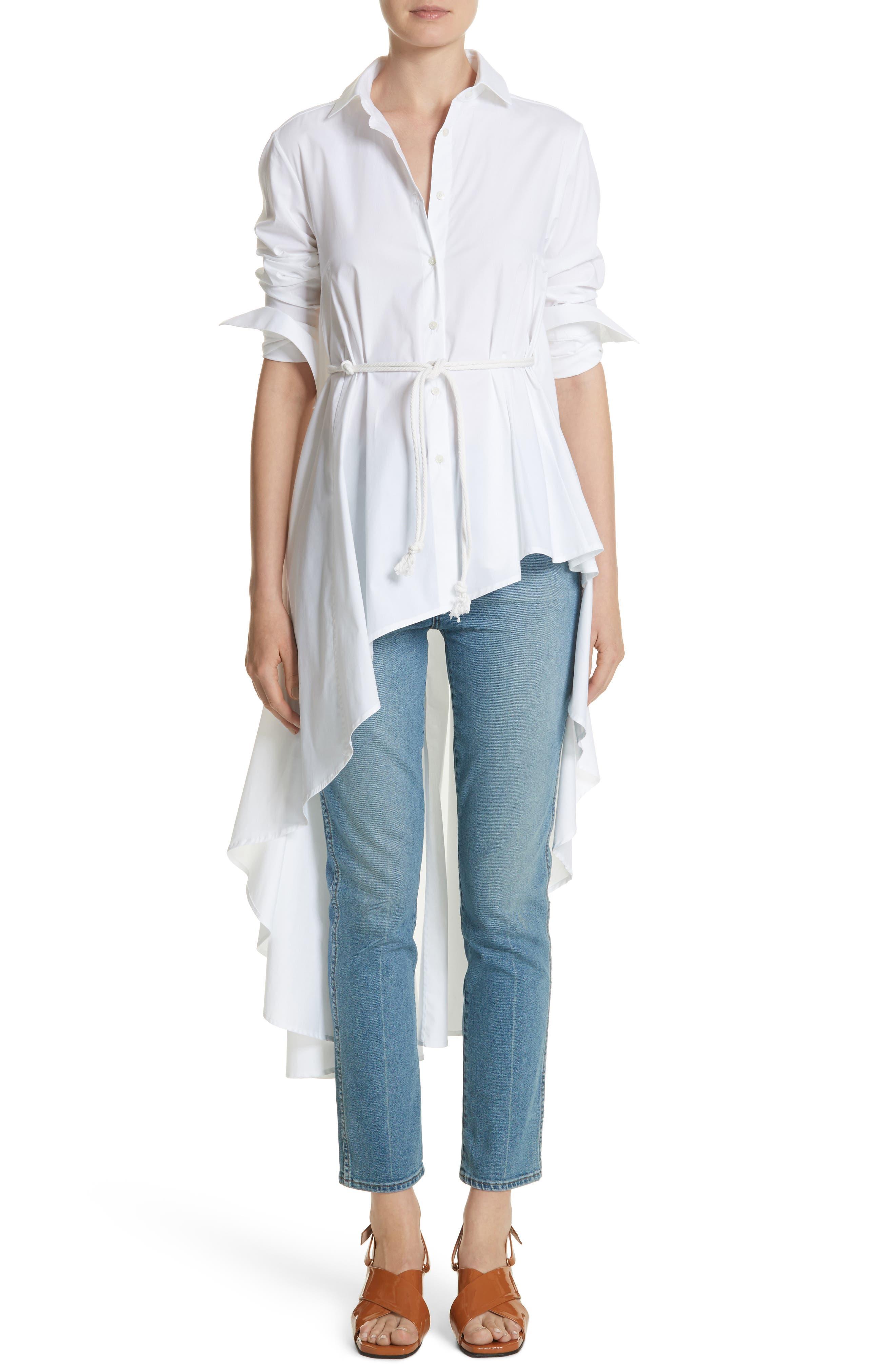Long Super Shirt,                             Main thumbnail 1, color,                             WHITE