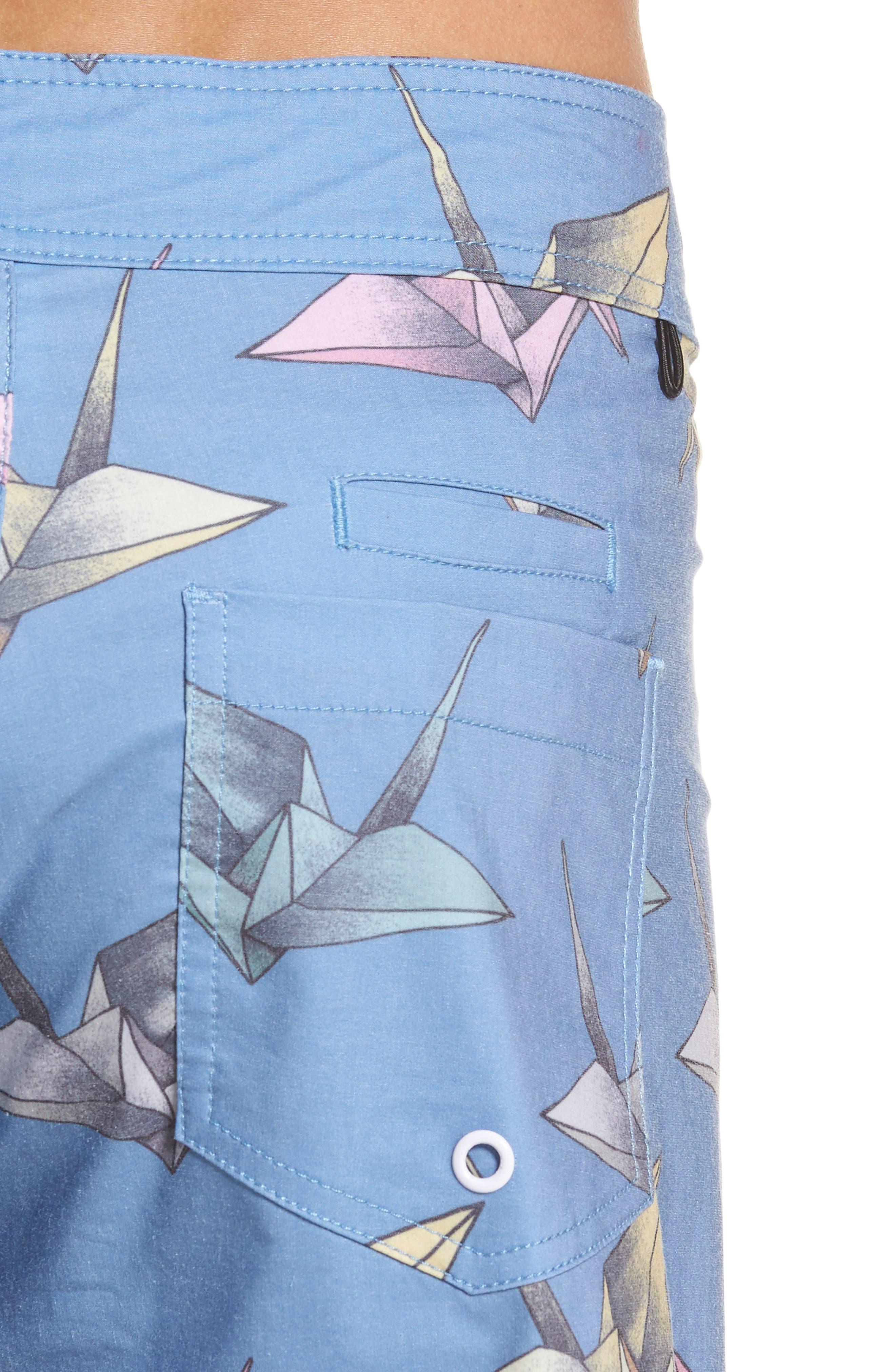Origami Print Board Shorts,                             Alternate thumbnail 4, color,