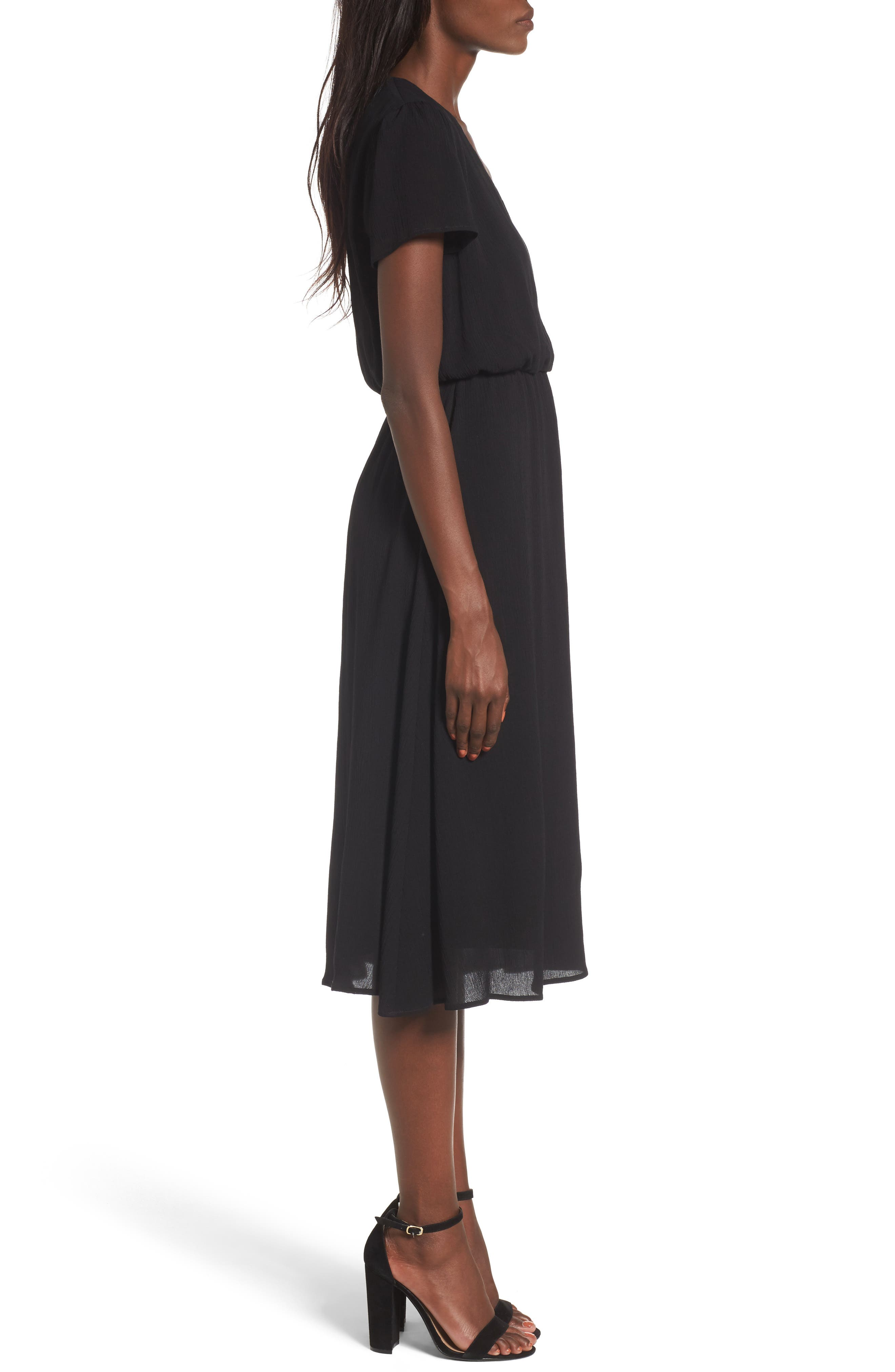 WAYF,                             Blouson Midi Dress,                             Alternate thumbnail 3, color,                             BLACK