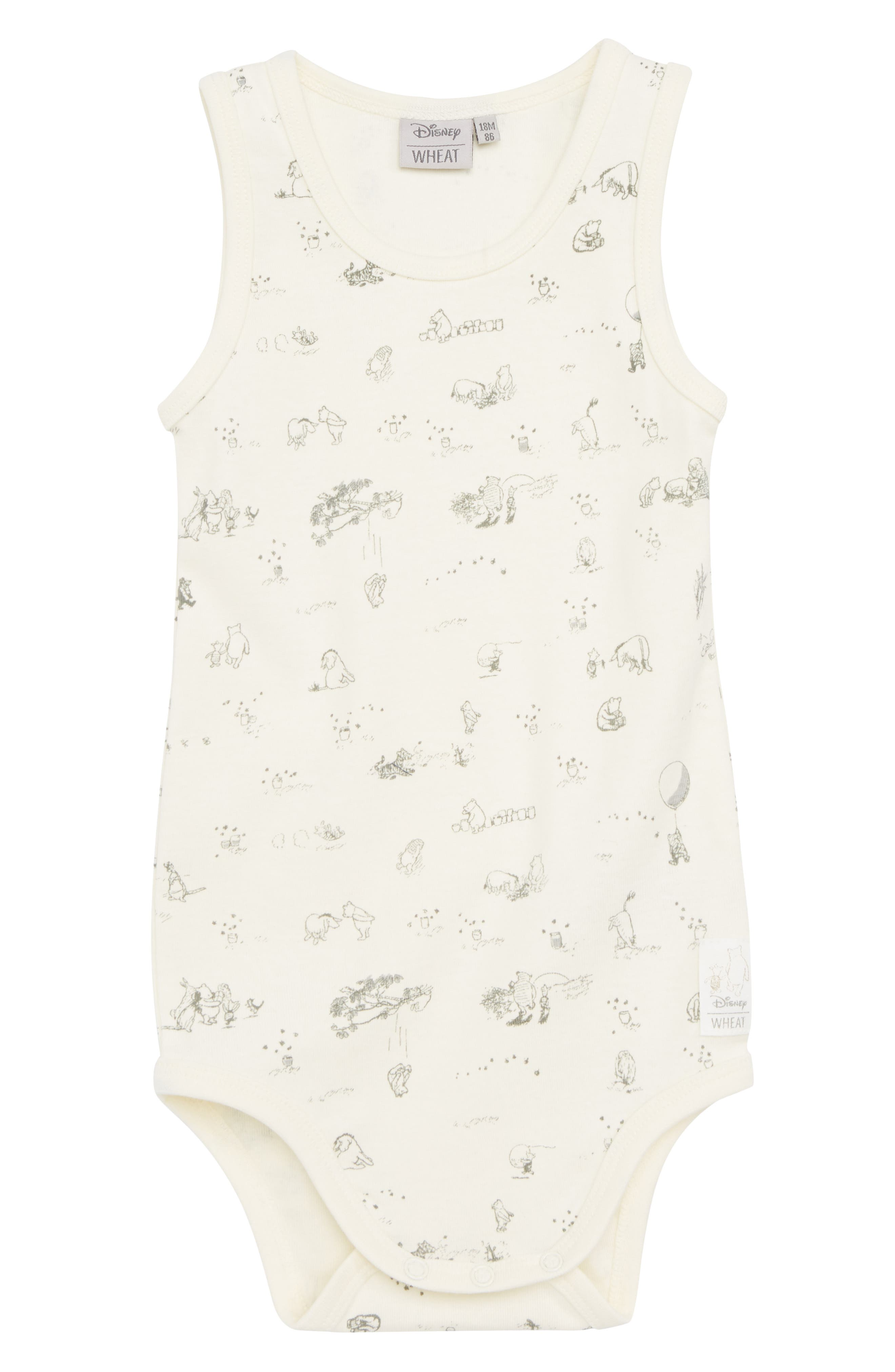 x Disney<sup>®</sup> Winnie the Pooh Organic Cotton Bodysuit,                             Main thumbnail 1, color,                             902