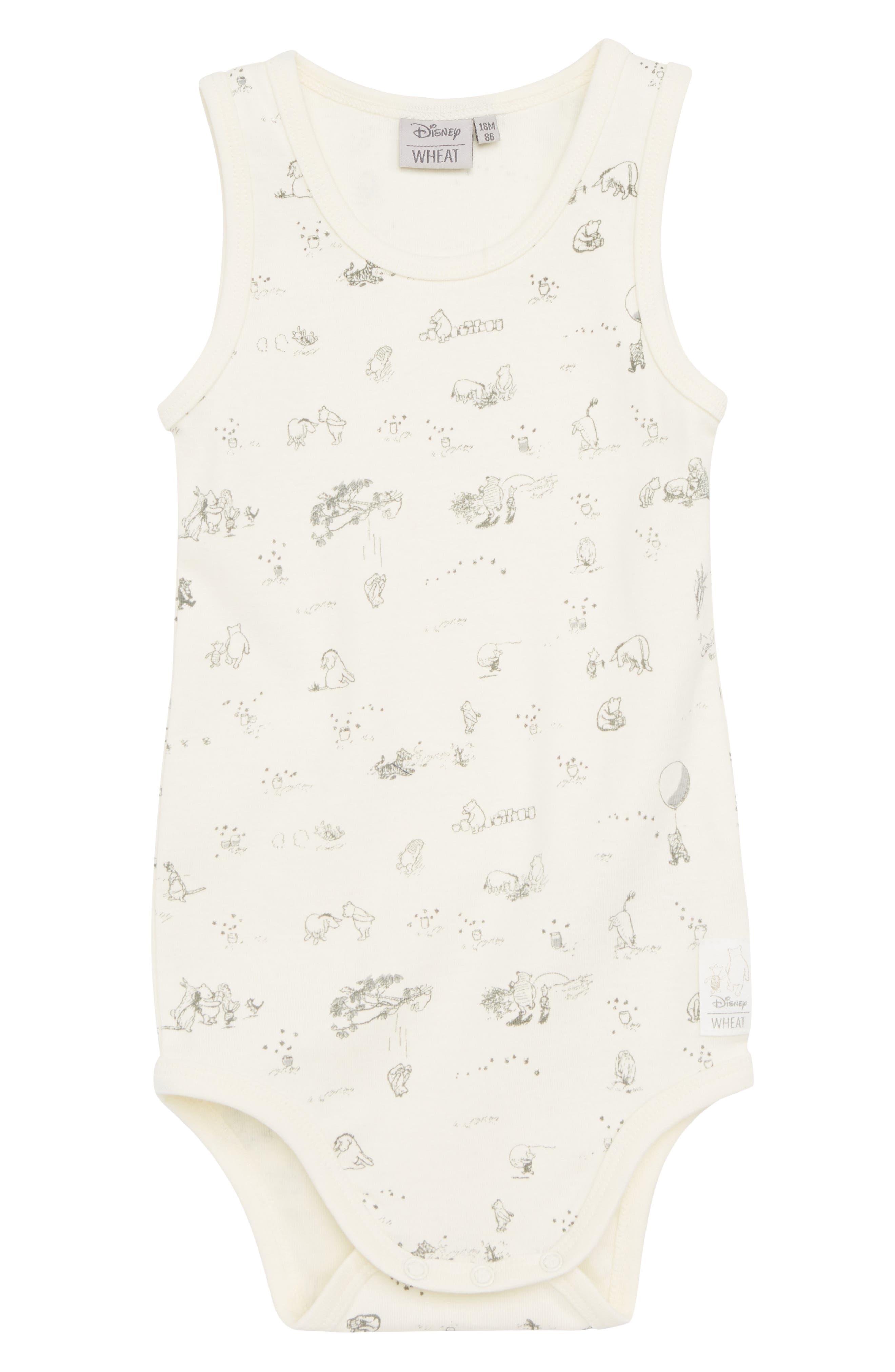 x Disney<sup>®</sup> Winnie the Pooh Organic Cotton Bodysuit,                         Main,                         color, 902