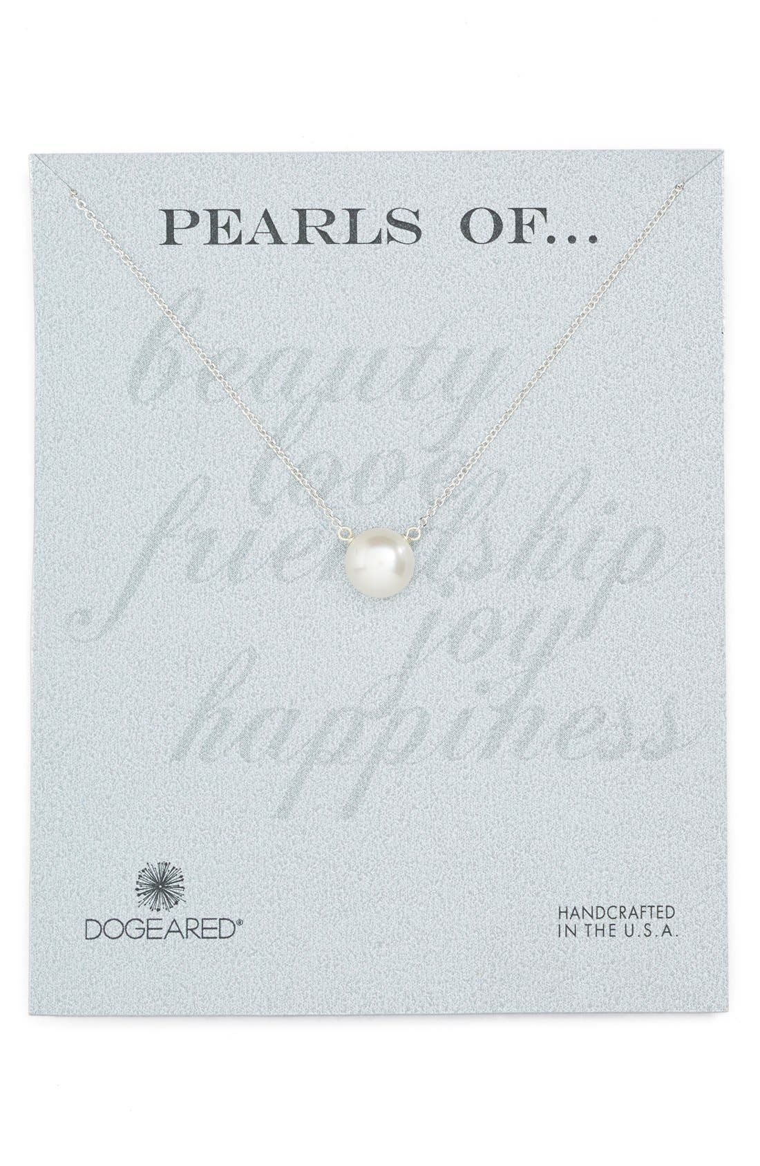 DOGEARED Freshwater Pearl Pendant Necklace, Main, color, 040