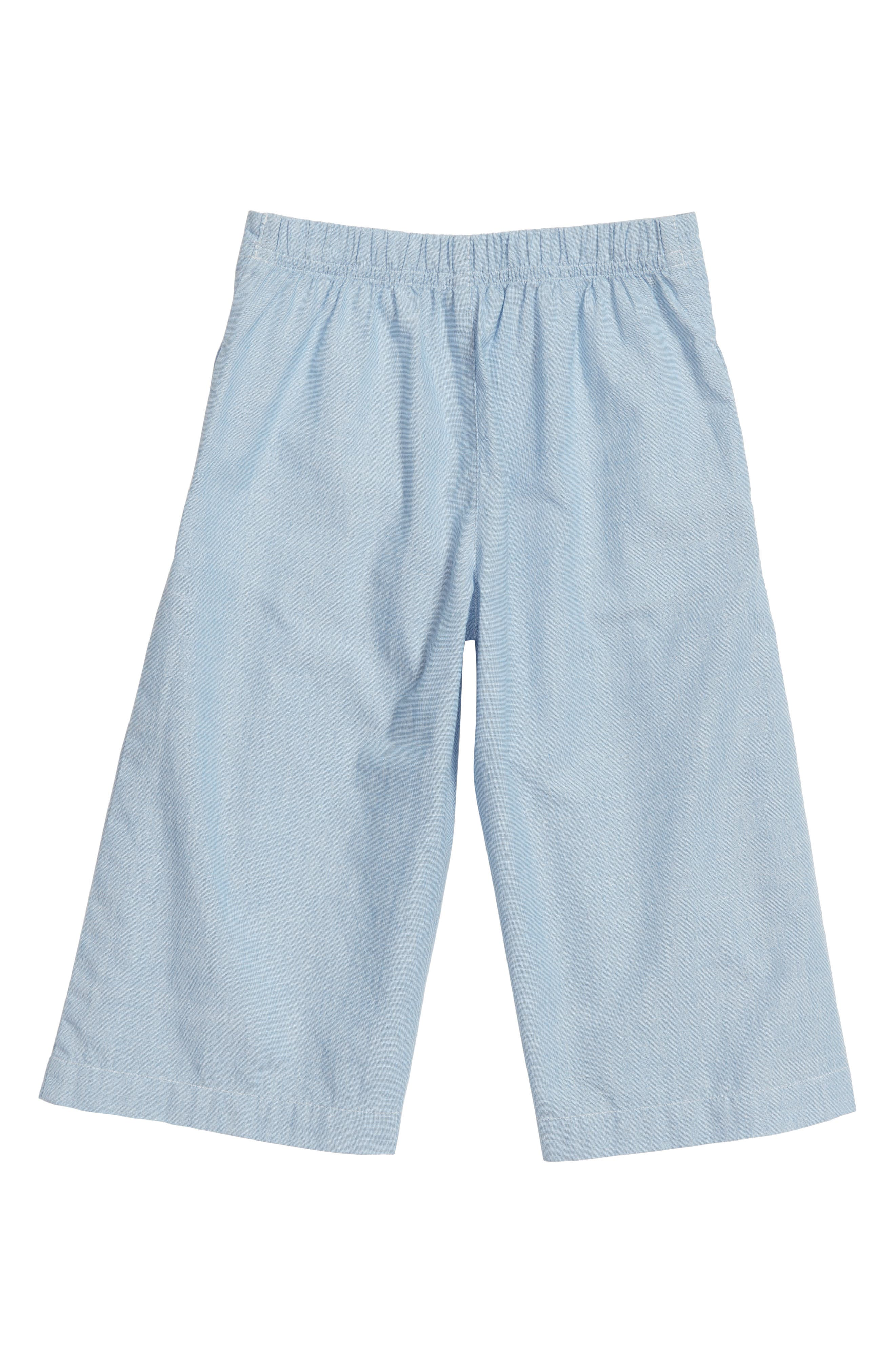 Pleated Chambray Gaucho Pants,                             Alternate thumbnail 2, color,