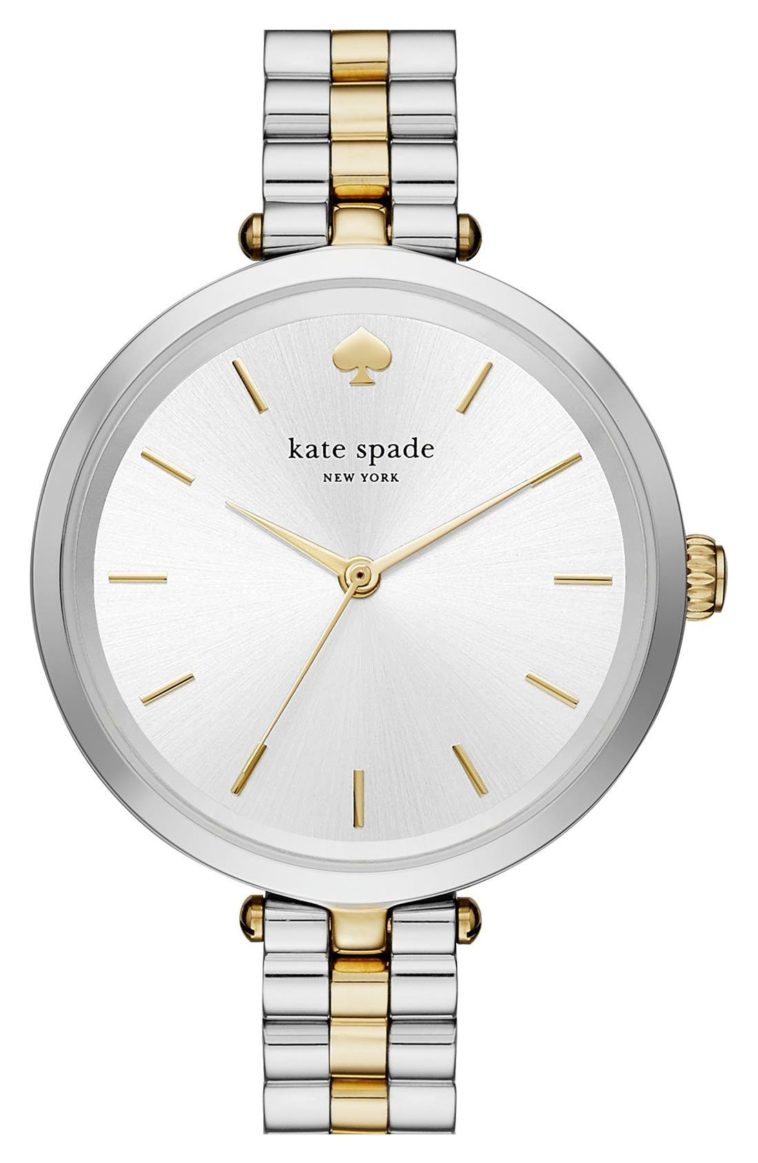 KATE SPADE NEW YORK,                             holland bracelet watch, 34mm,                             Main thumbnail 1, color,                             SILVER/ GOLD