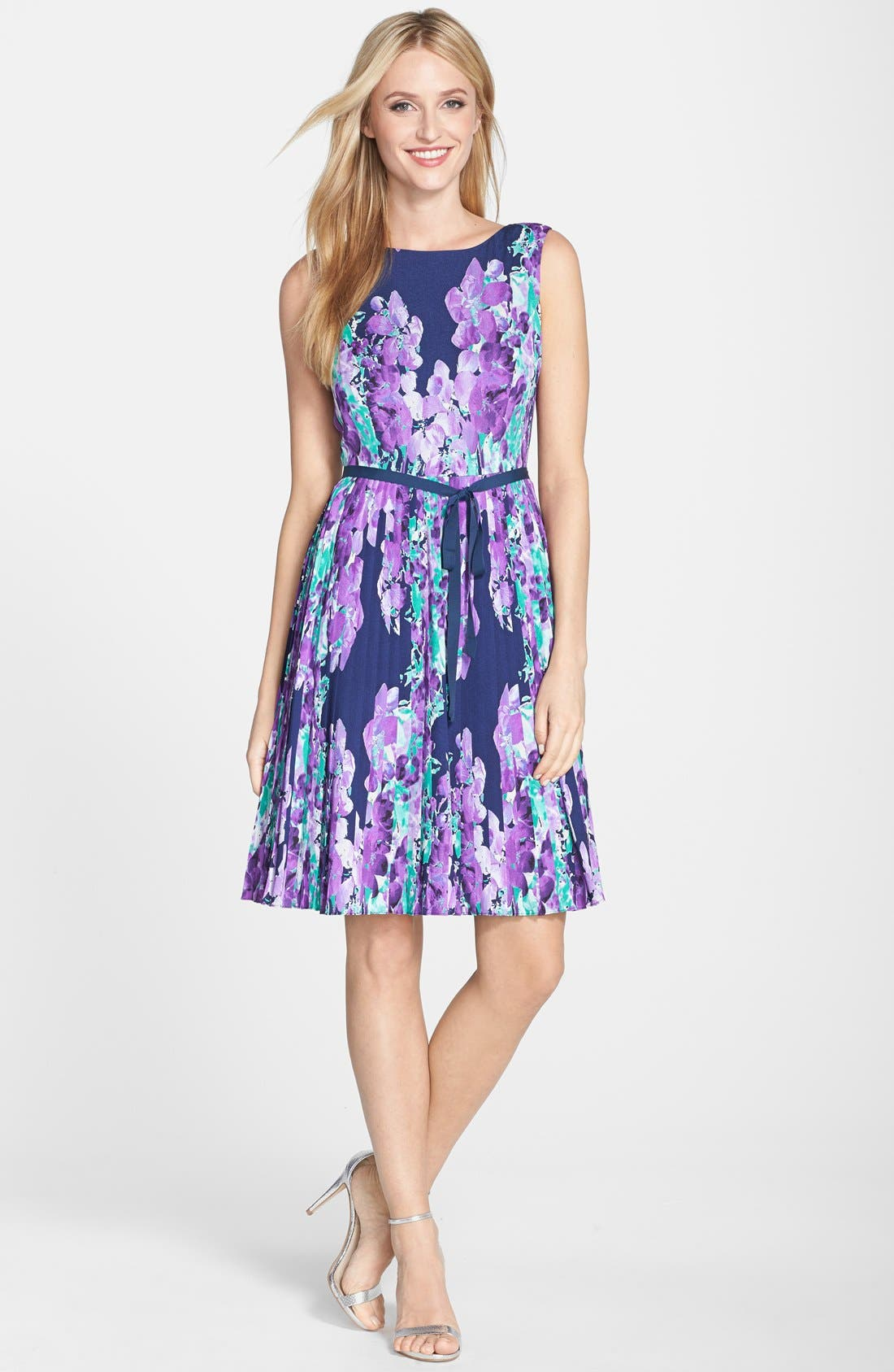 ADRIANNA PAPELL,                             Floral Print Pleat Fit & Flare Dress,                             Alternate thumbnail 3, color,                             468