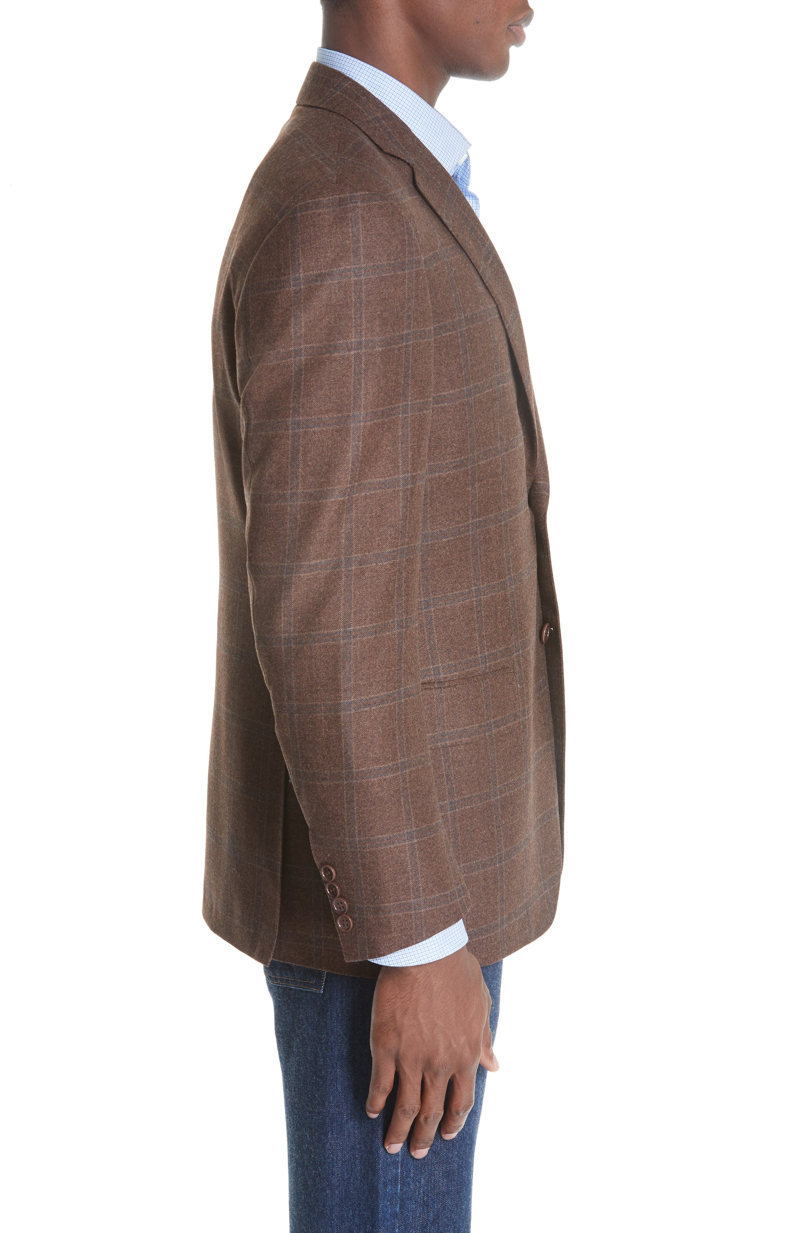 Classic Fit Windowpane Wool Sport Coat,                             Alternate thumbnail 3, color,                             MED BROWN