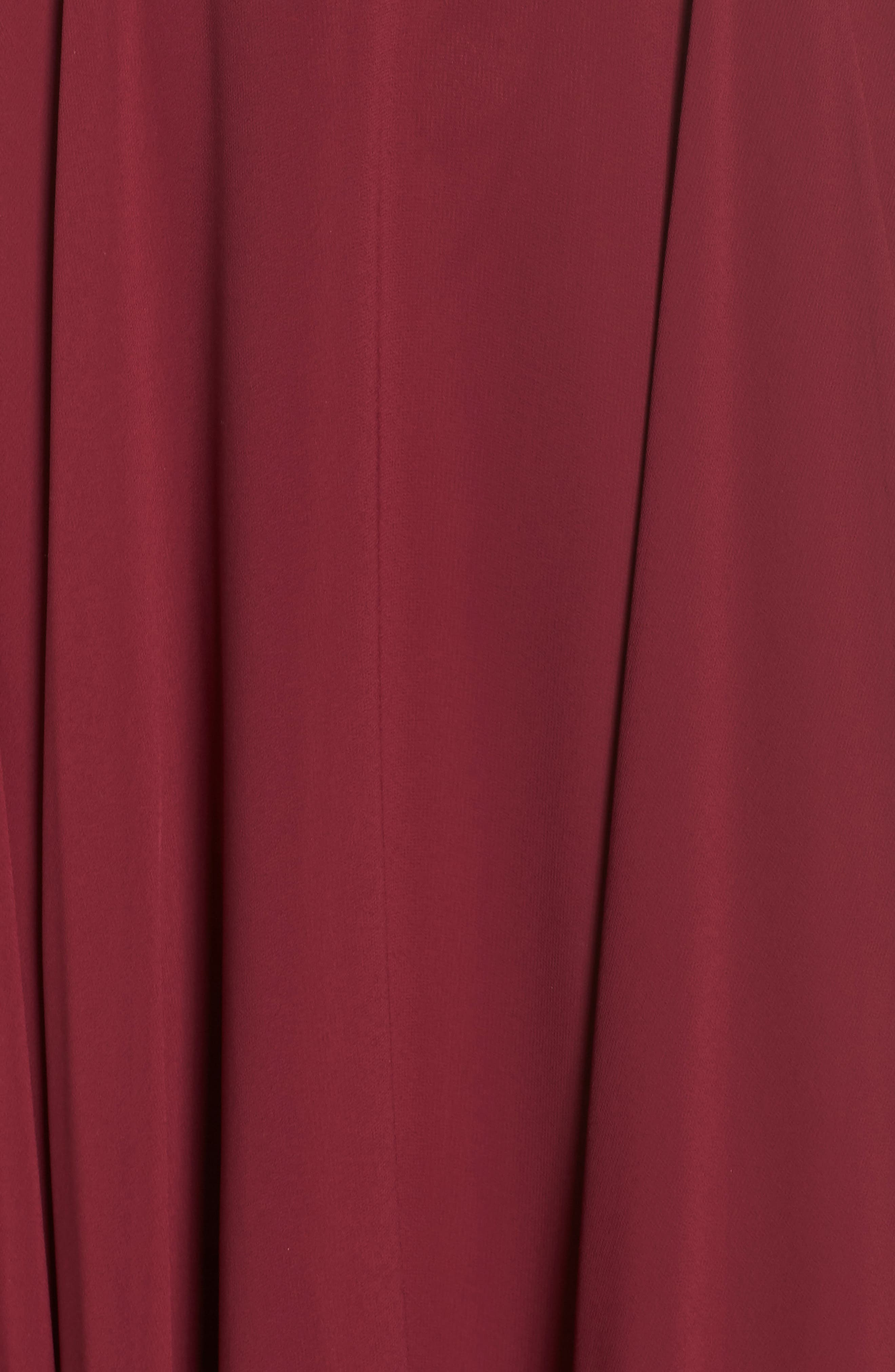 Chiffon Cold Shoulder Gown,                             Alternate thumbnail 6, color,                             BURGUNDY
