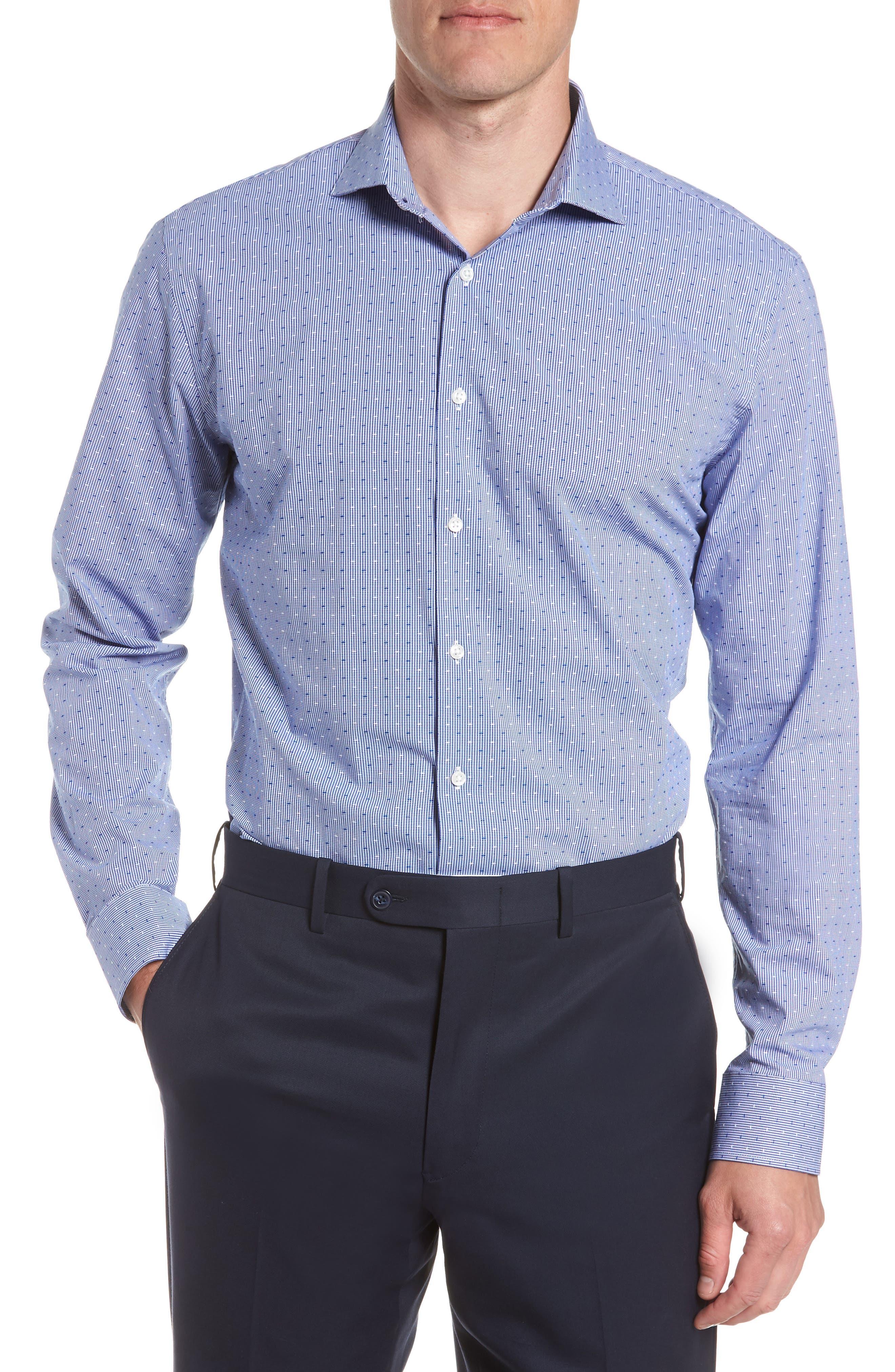 Tech-Smart Trim Fit Check Dress Shirt,                             Main thumbnail 1, color,