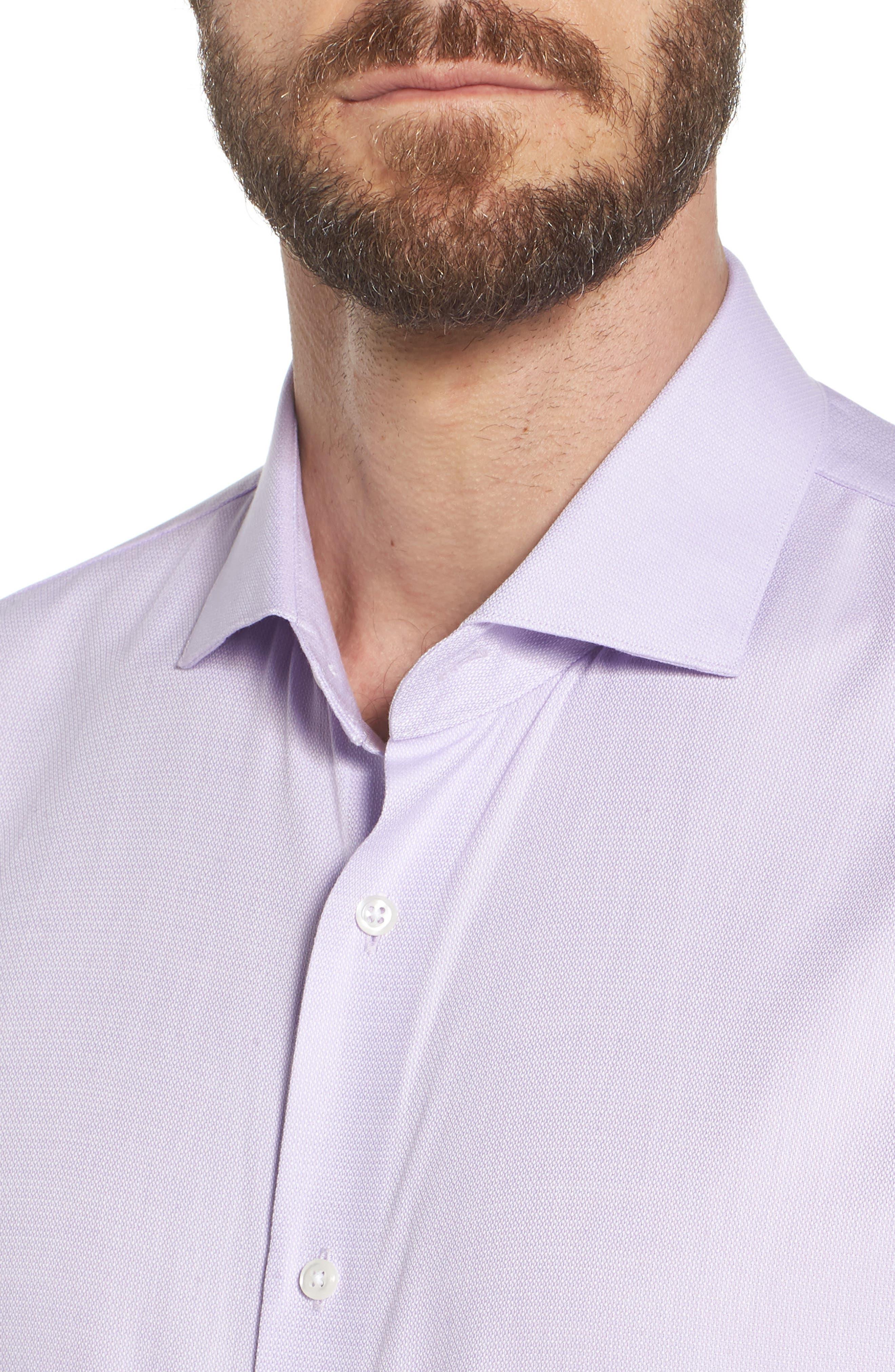 Trim Fit Solid Dress Shirt,                             Alternate thumbnail 6, color,