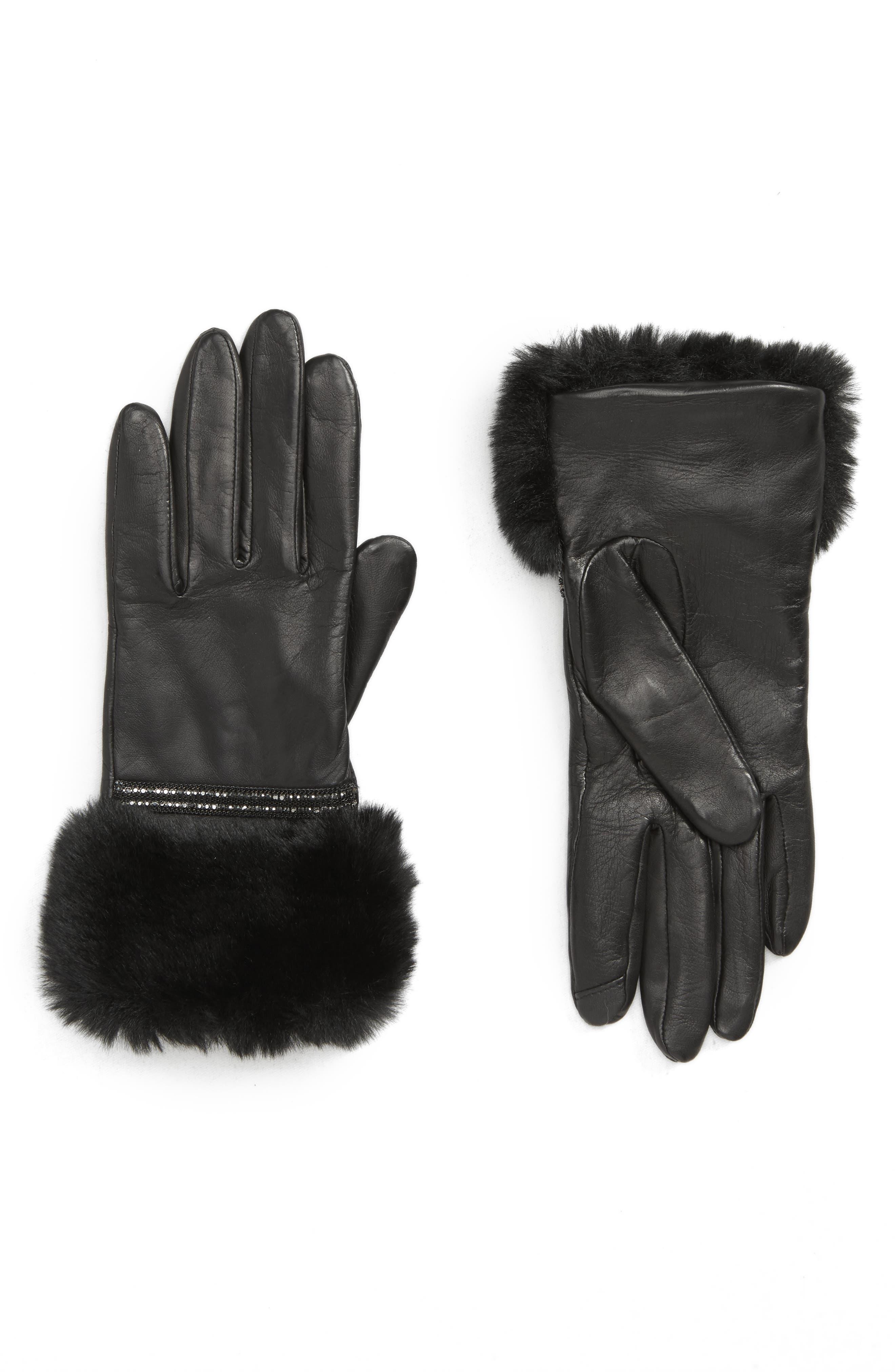 Badgley Mischka Faux Fur Trim Leather Touchscreen Gloves, Main, color, BLACK