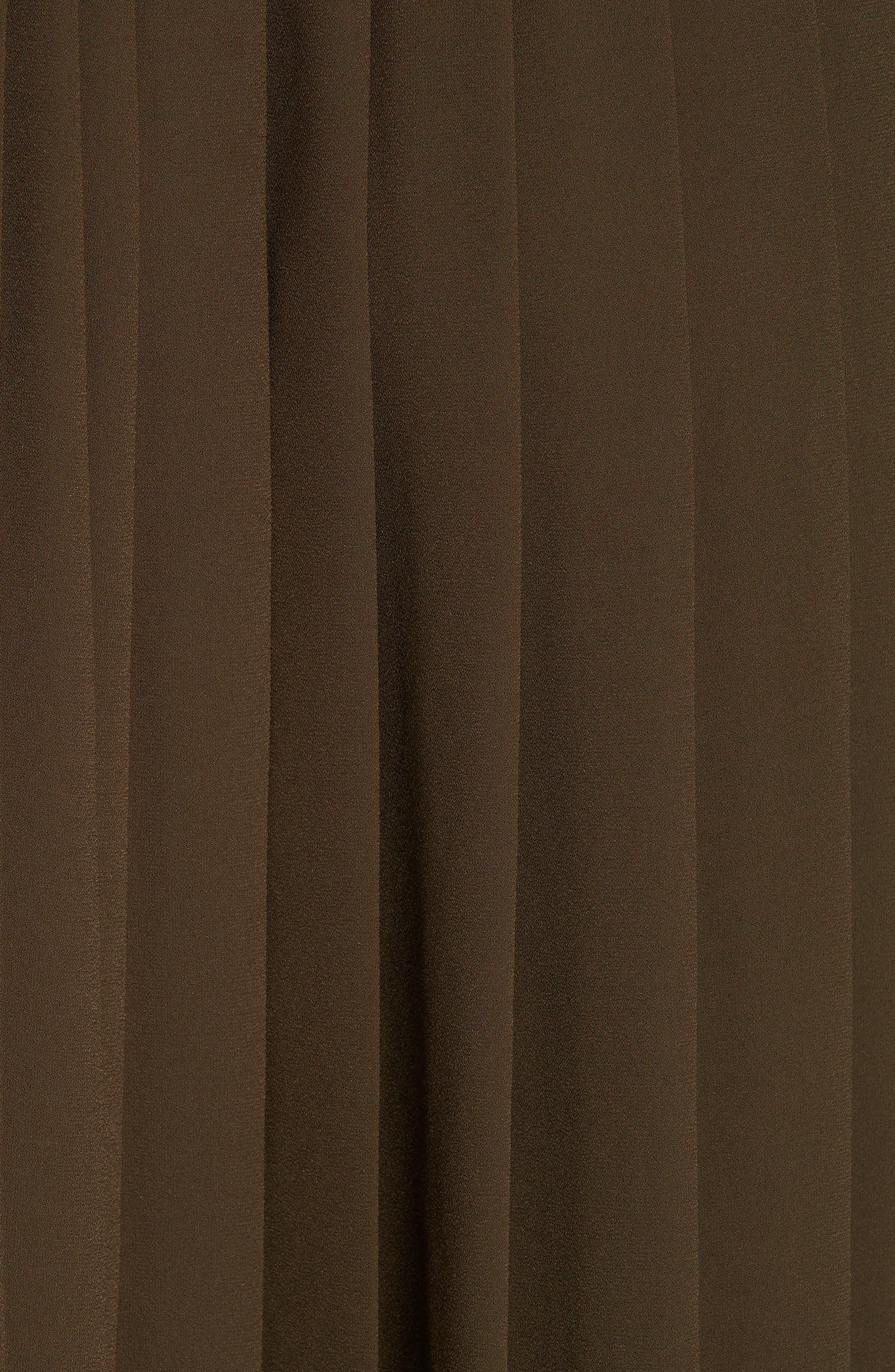 Asymmetrical Pleat A-Line Skirt,                             Alternate thumbnail 5, color,                             OLIVE TUSCAN