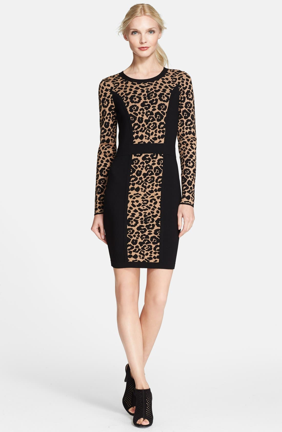 Cheetah Jacquard Sheath Dress,                             Main thumbnail 1, color,                             001