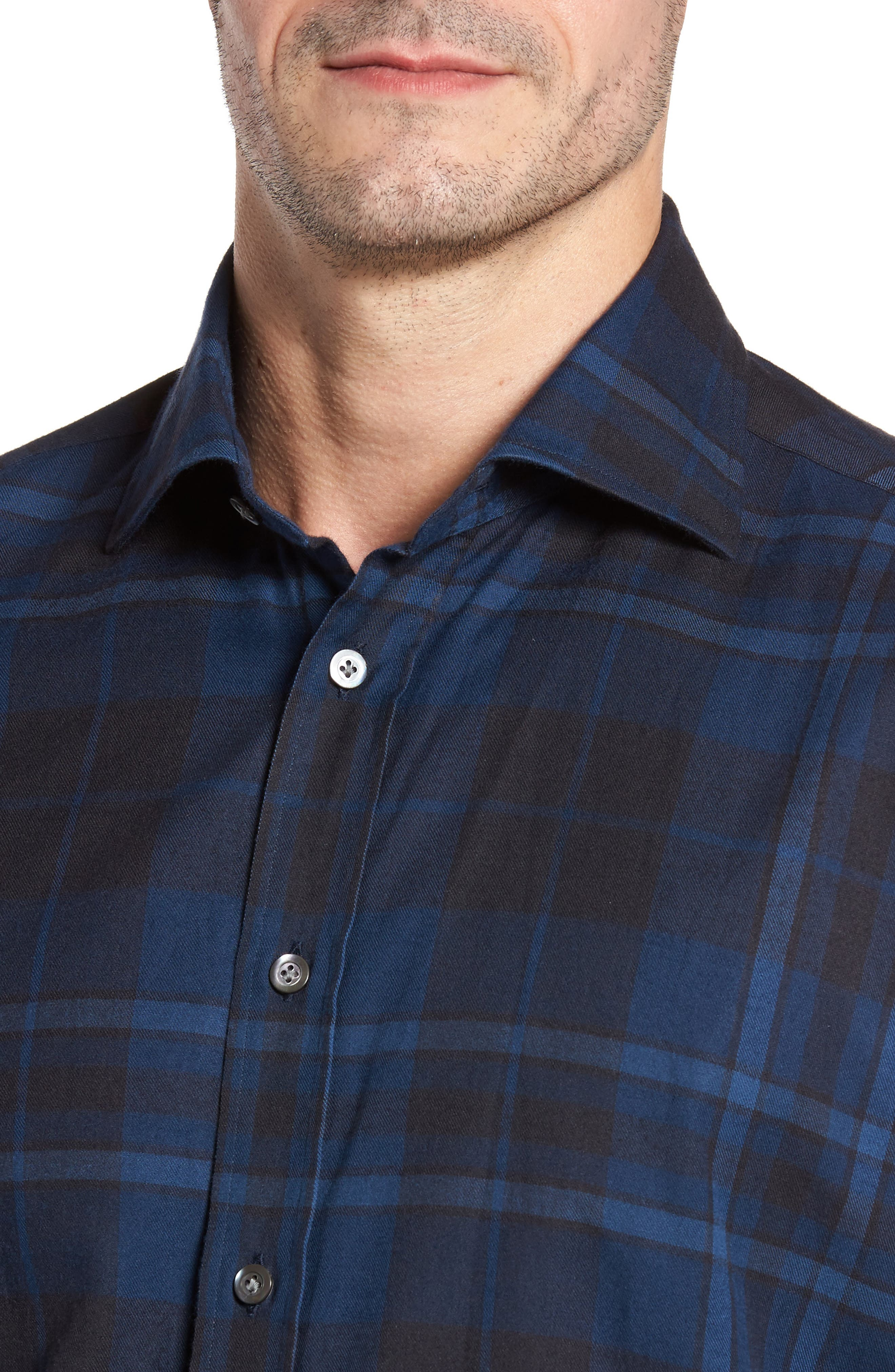 Trim Fit Plaid Sport Shirt,                             Alternate thumbnail 4, color,                             421