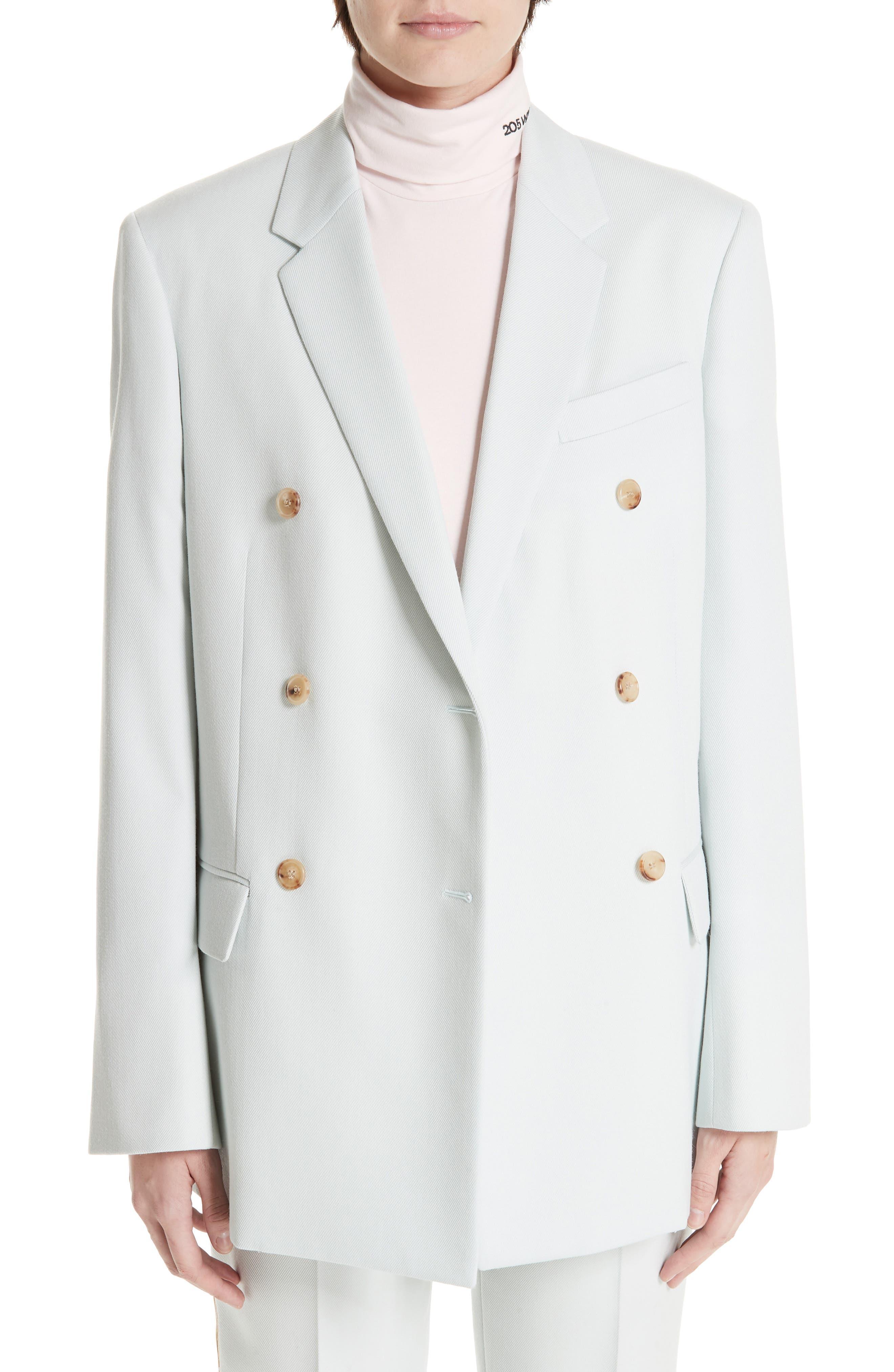 Wool Twill Double Breasted Blazer,                         Main,                         color, LIGHT AQUA