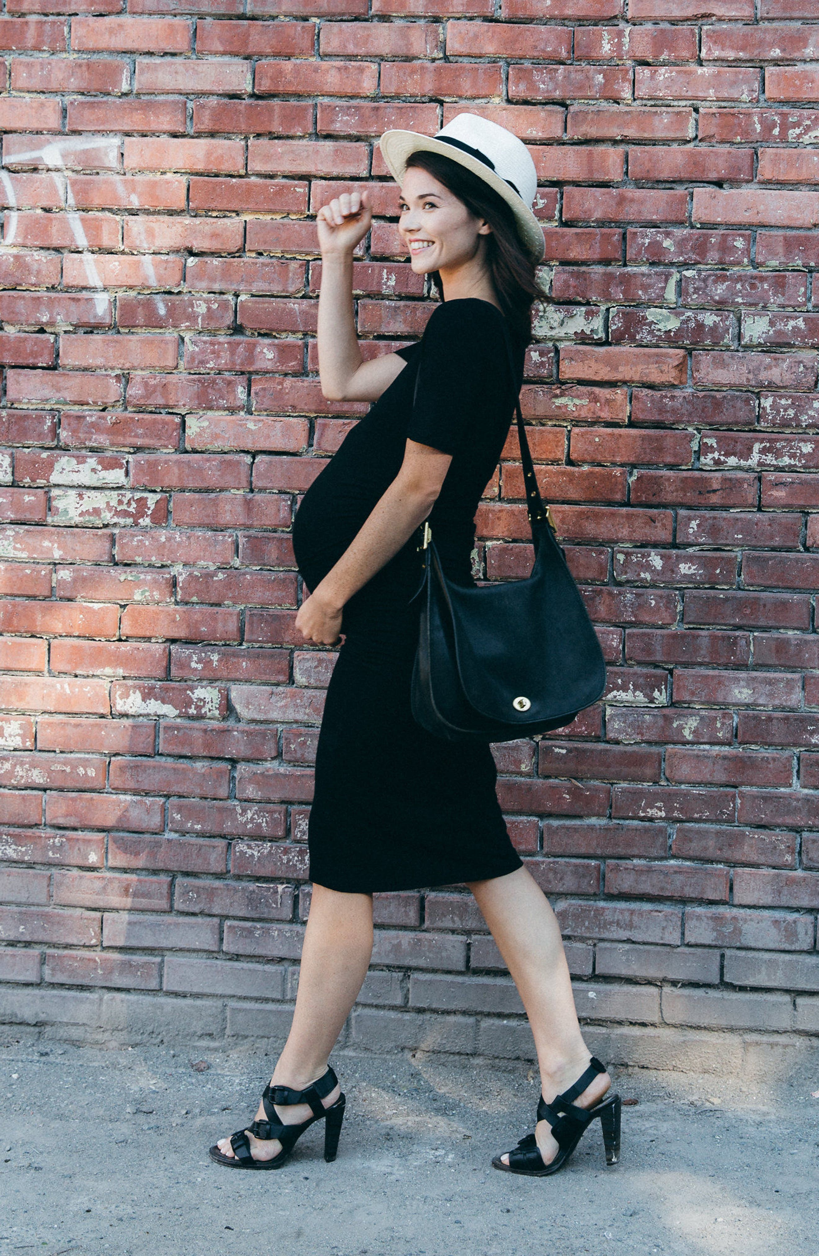 'Hailey' Maternity Dress,                             Alternate thumbnail 6, color,                             BLACK