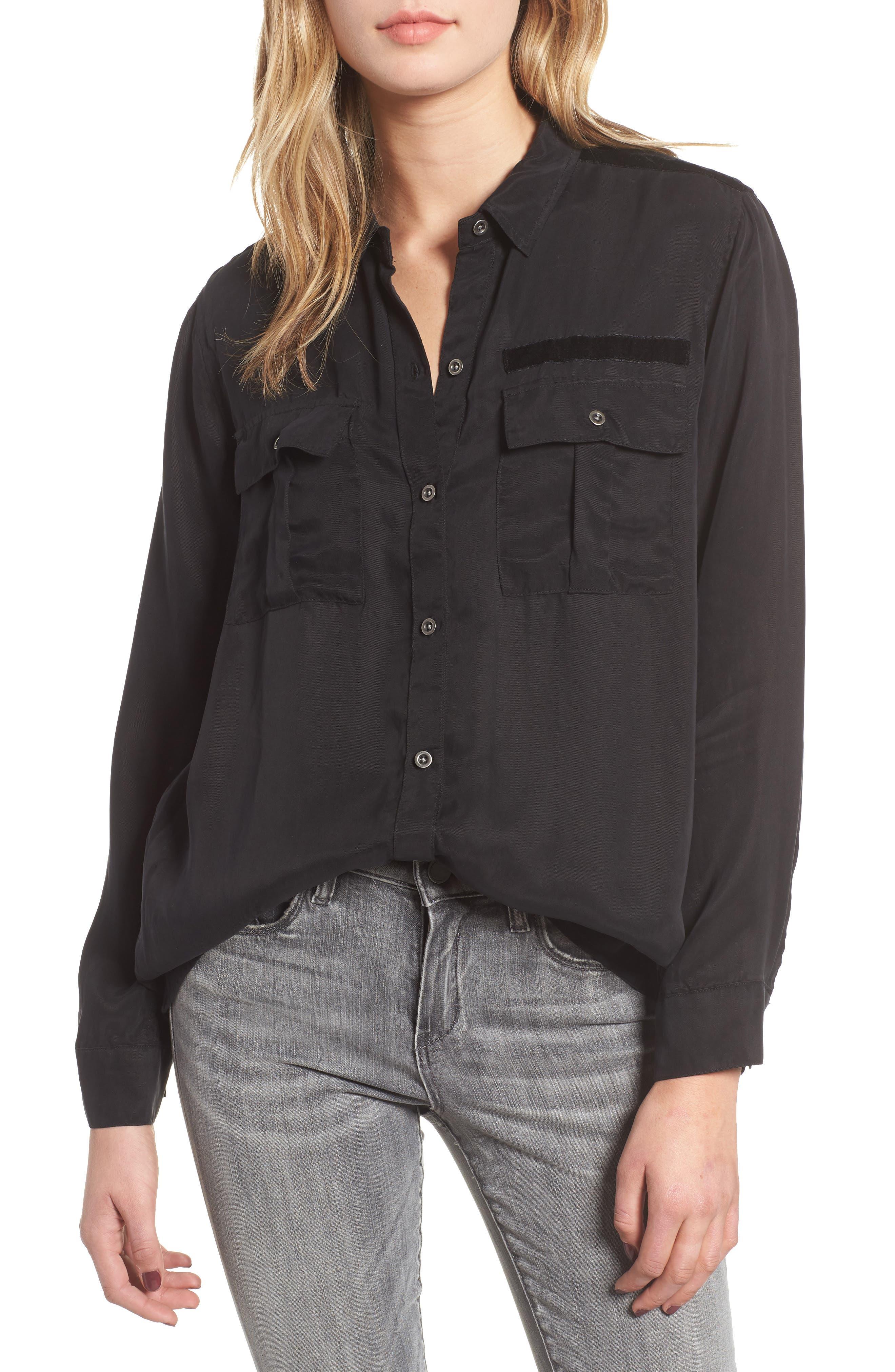 Kent Button Up Blouse,                         Main,                         color, BLACK