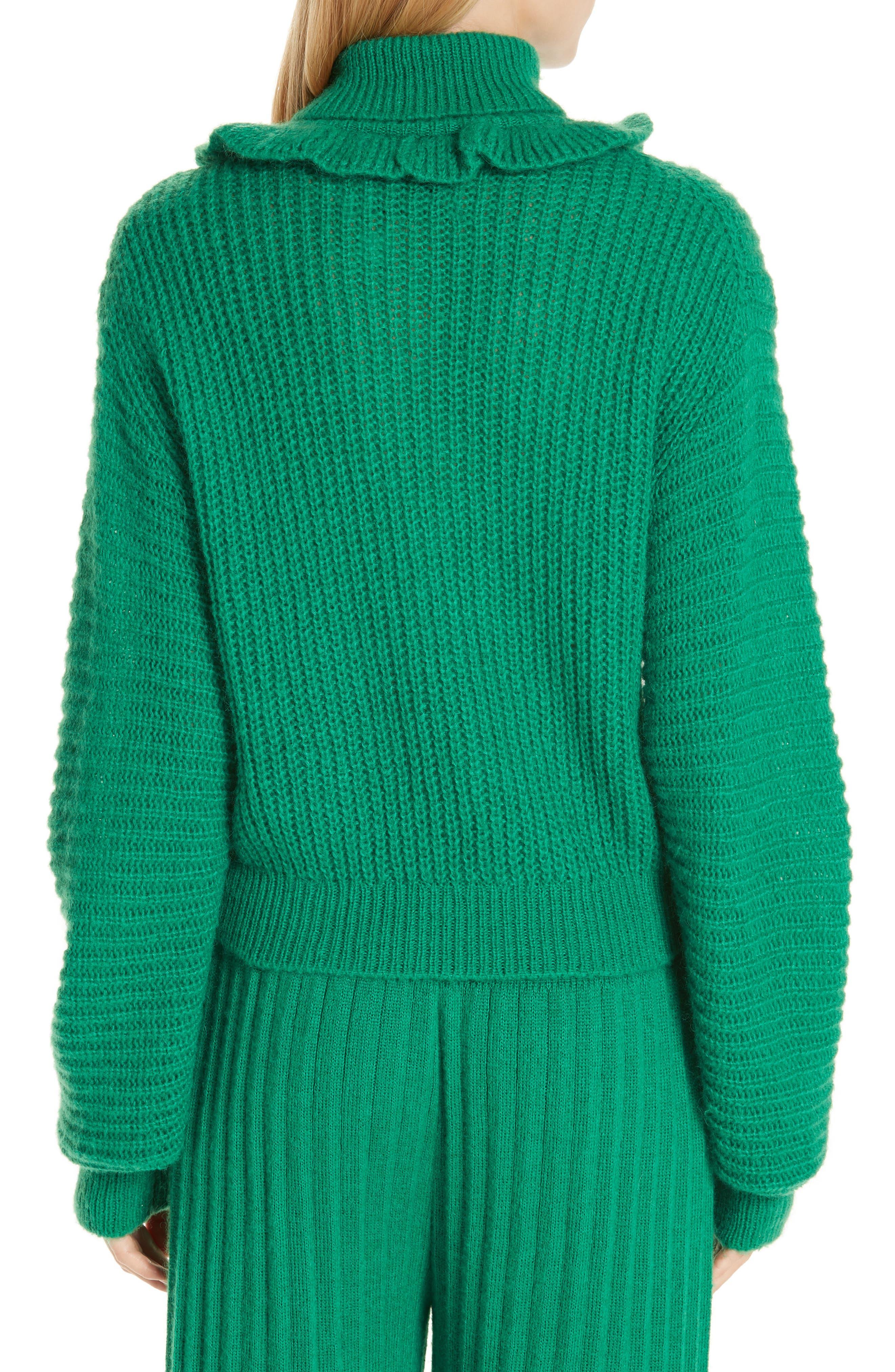 Ruffle Neck Sweater,                             Alternate thumbnail 2, color,                             GRASS GREEN