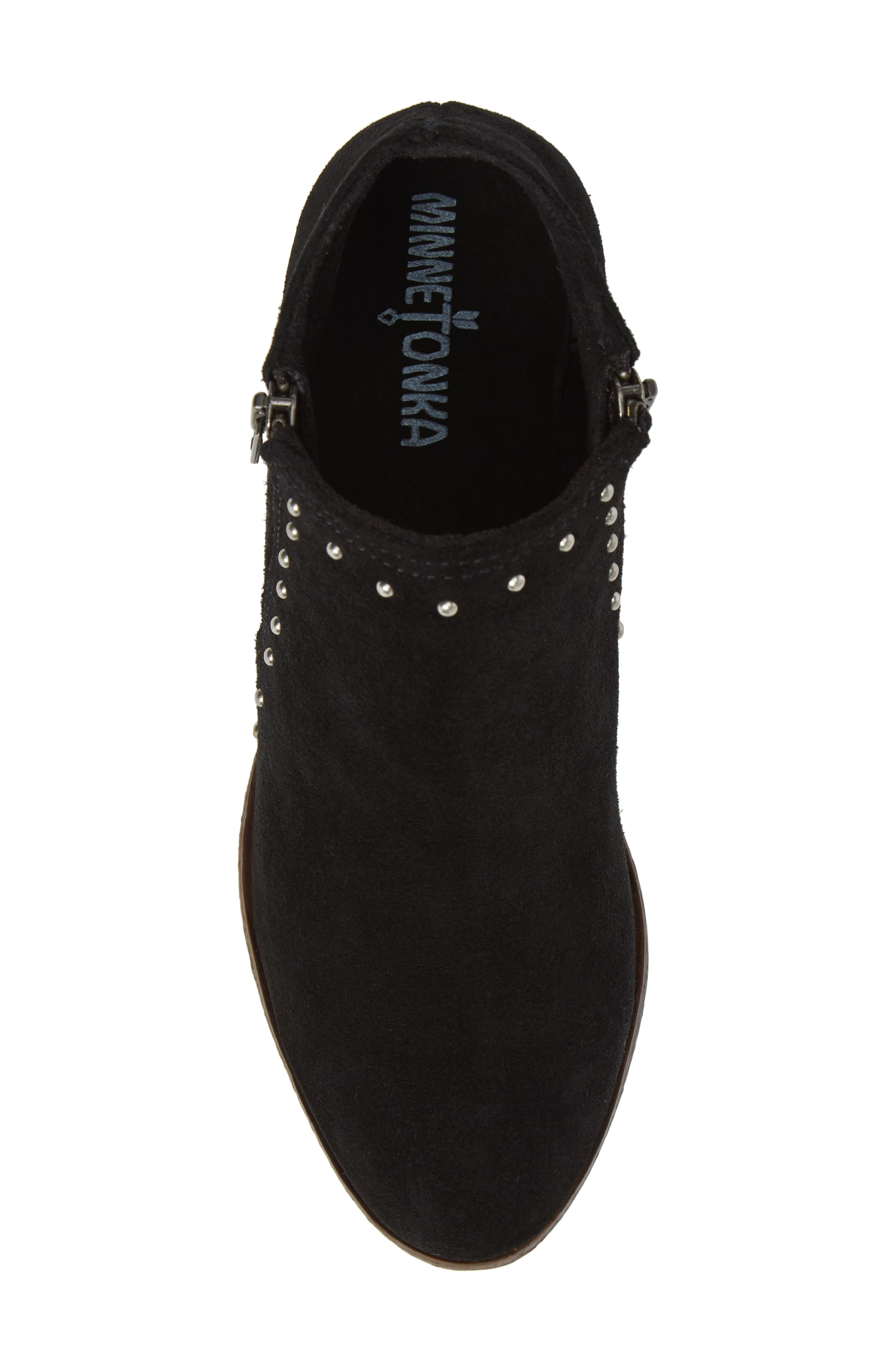 Brie Studded Bootie,                             Alternate thumbnail 5, color,                             BLACK