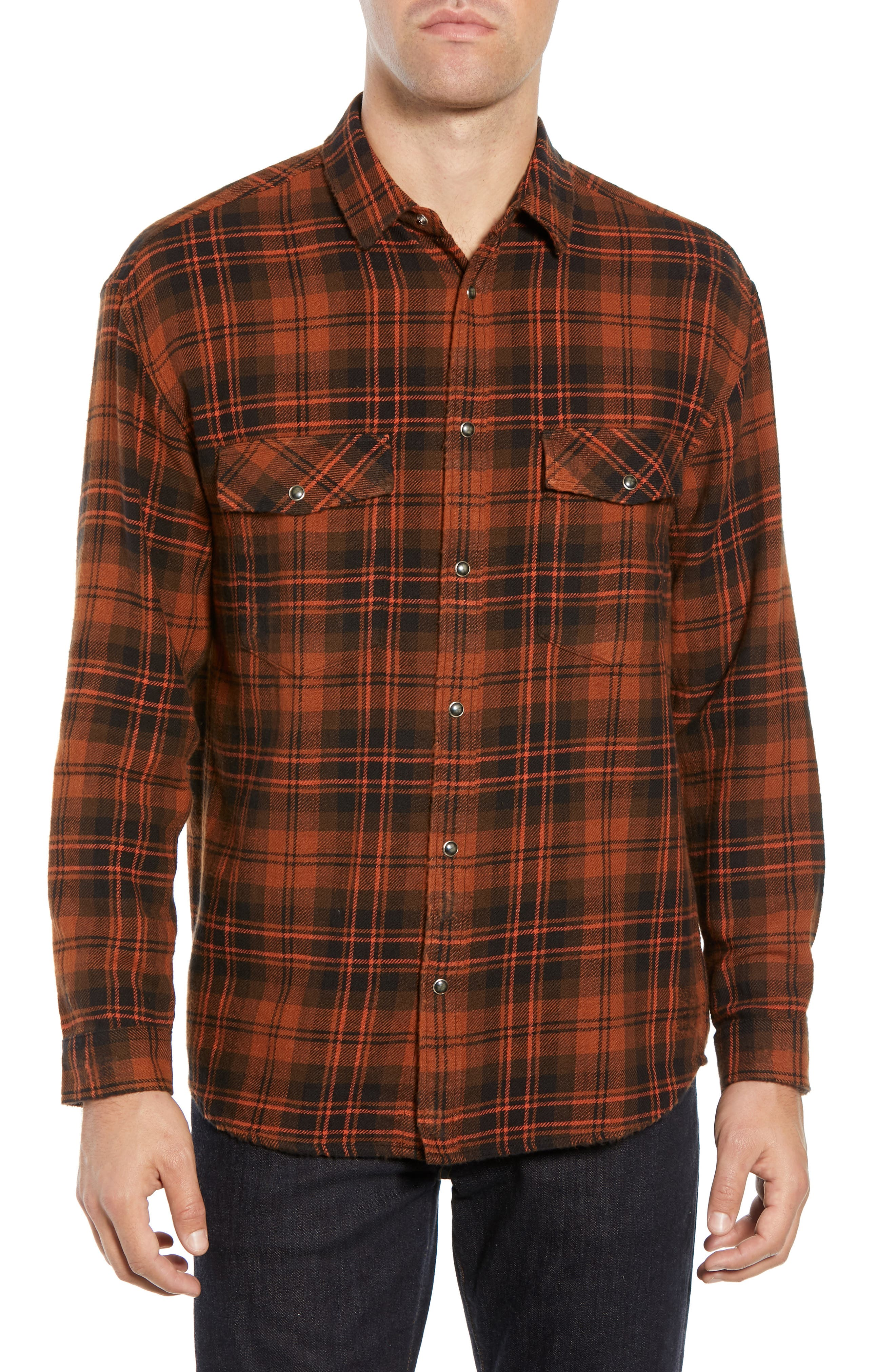 Destroyed Check Flannel Shirt,                         Main,                         color, 001