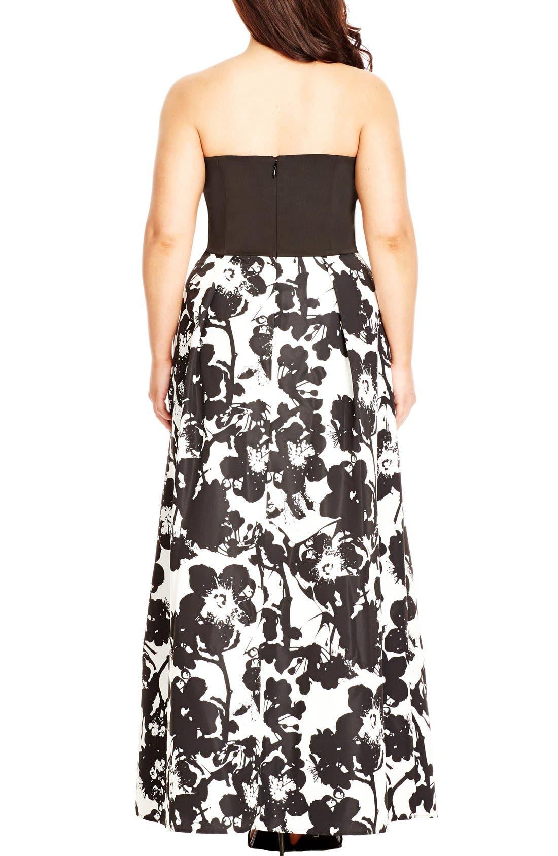 'Painted Poppy' Strapless Maxi Dress,                             Alternate thumbnail 2, color,                             BLACK