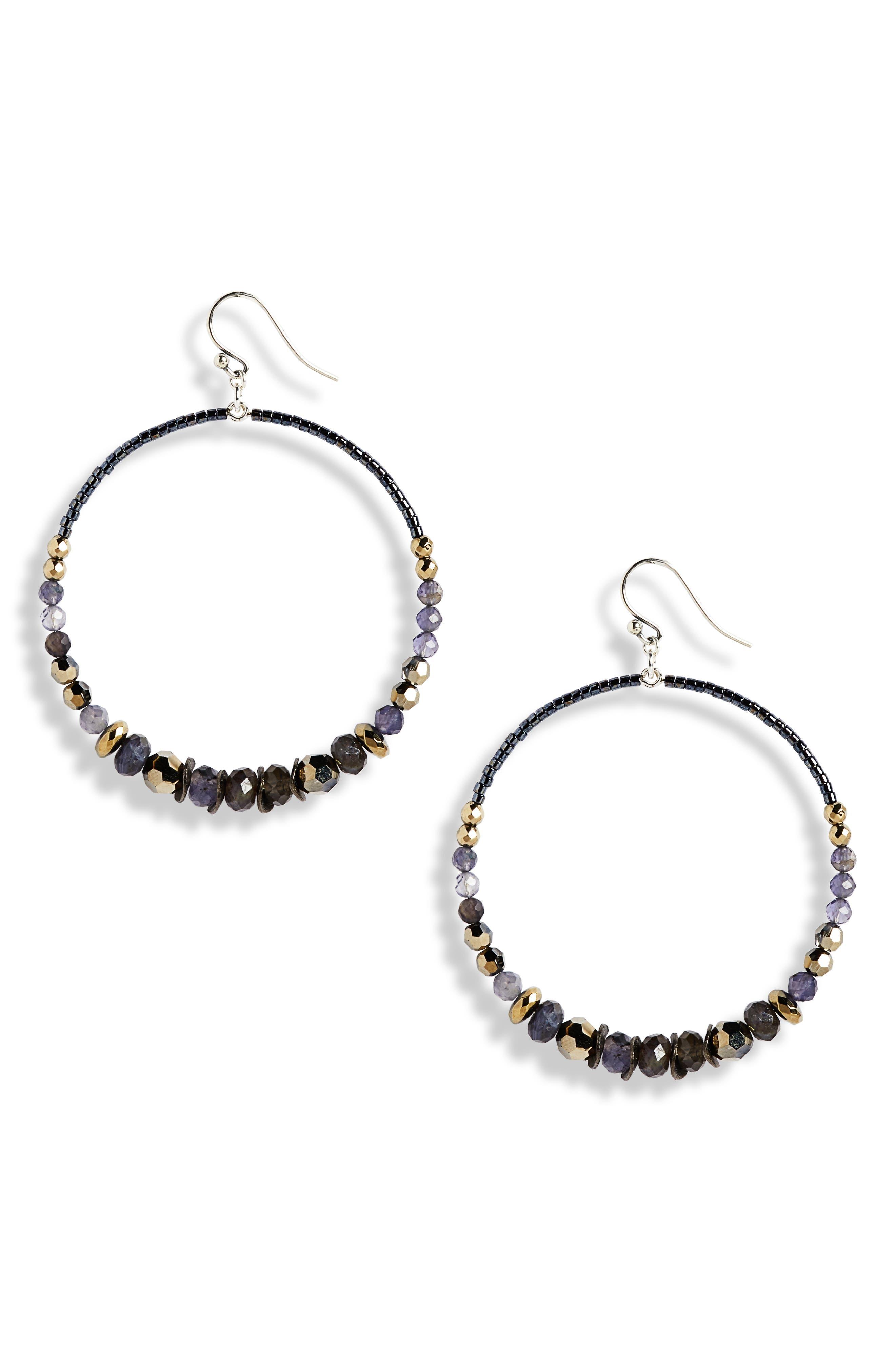 Mixed Stone & Crystal Hoop Earrings,                             Main thumbnail 1, color,                             METALLIC LIGHT GOLD MIX