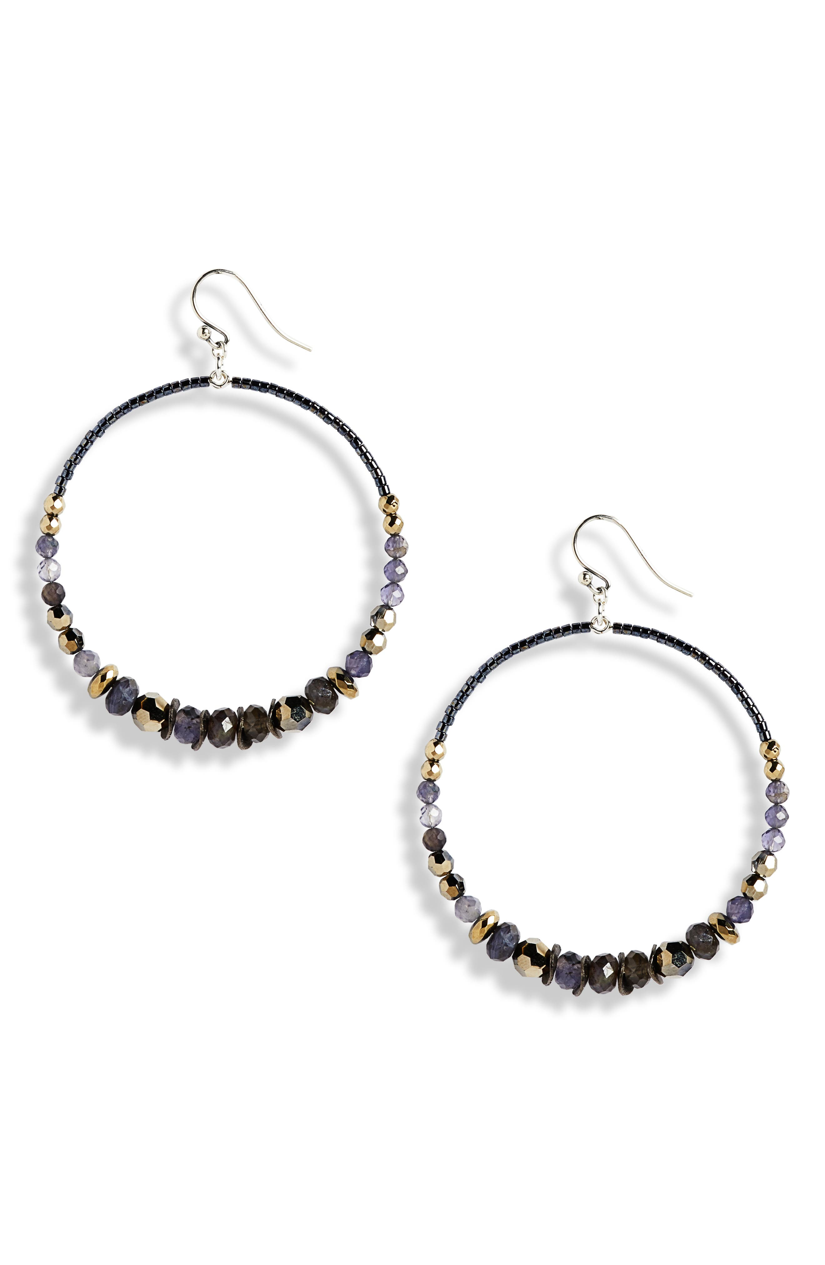 Mixed Stone & Crystal Hoop Earrings, Main, color, METALLIC LIGHT GOLD MIX