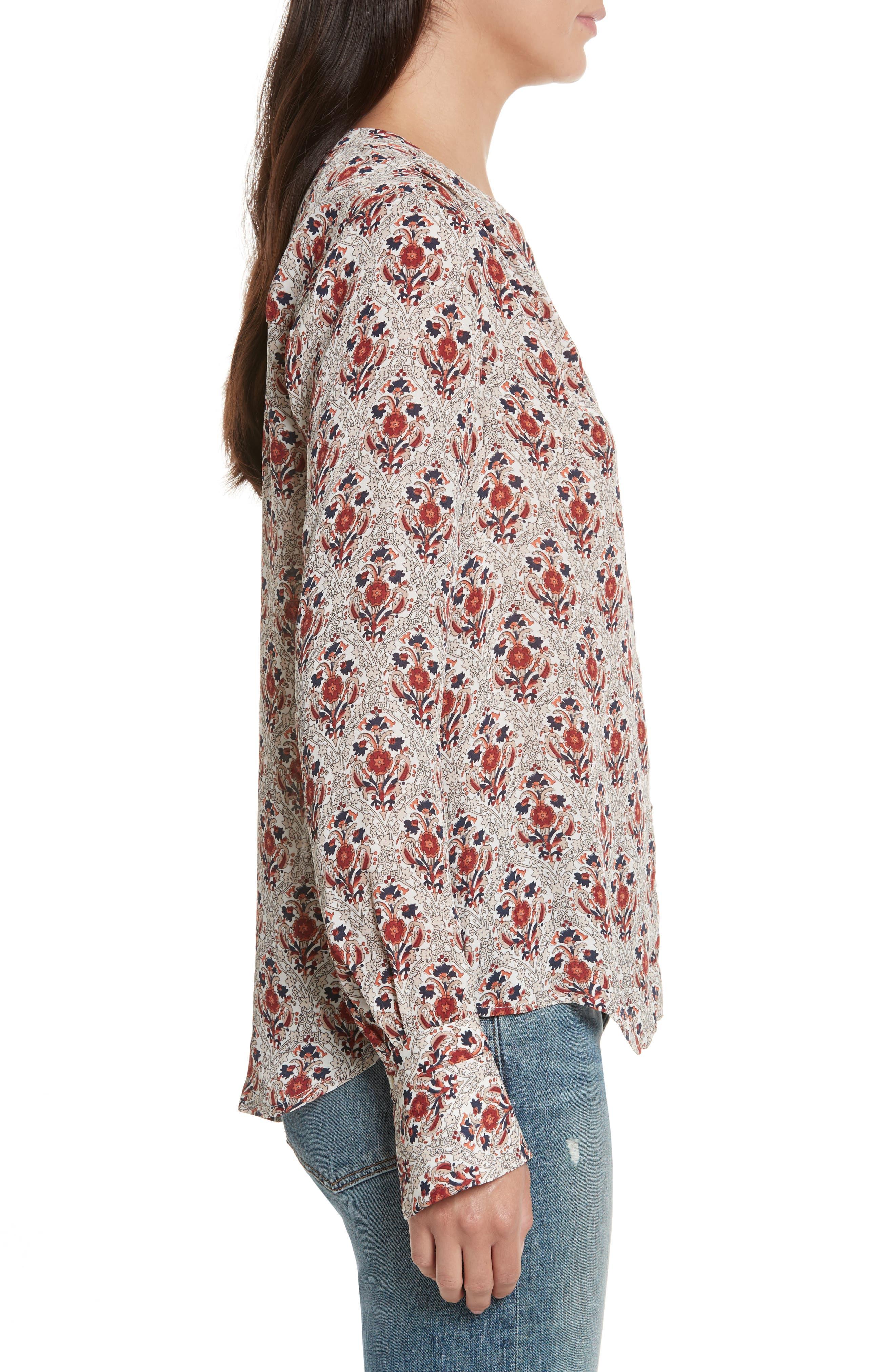 Jamiona Floral Silk Top,                             Alternate thumbnail 3, color,                             114