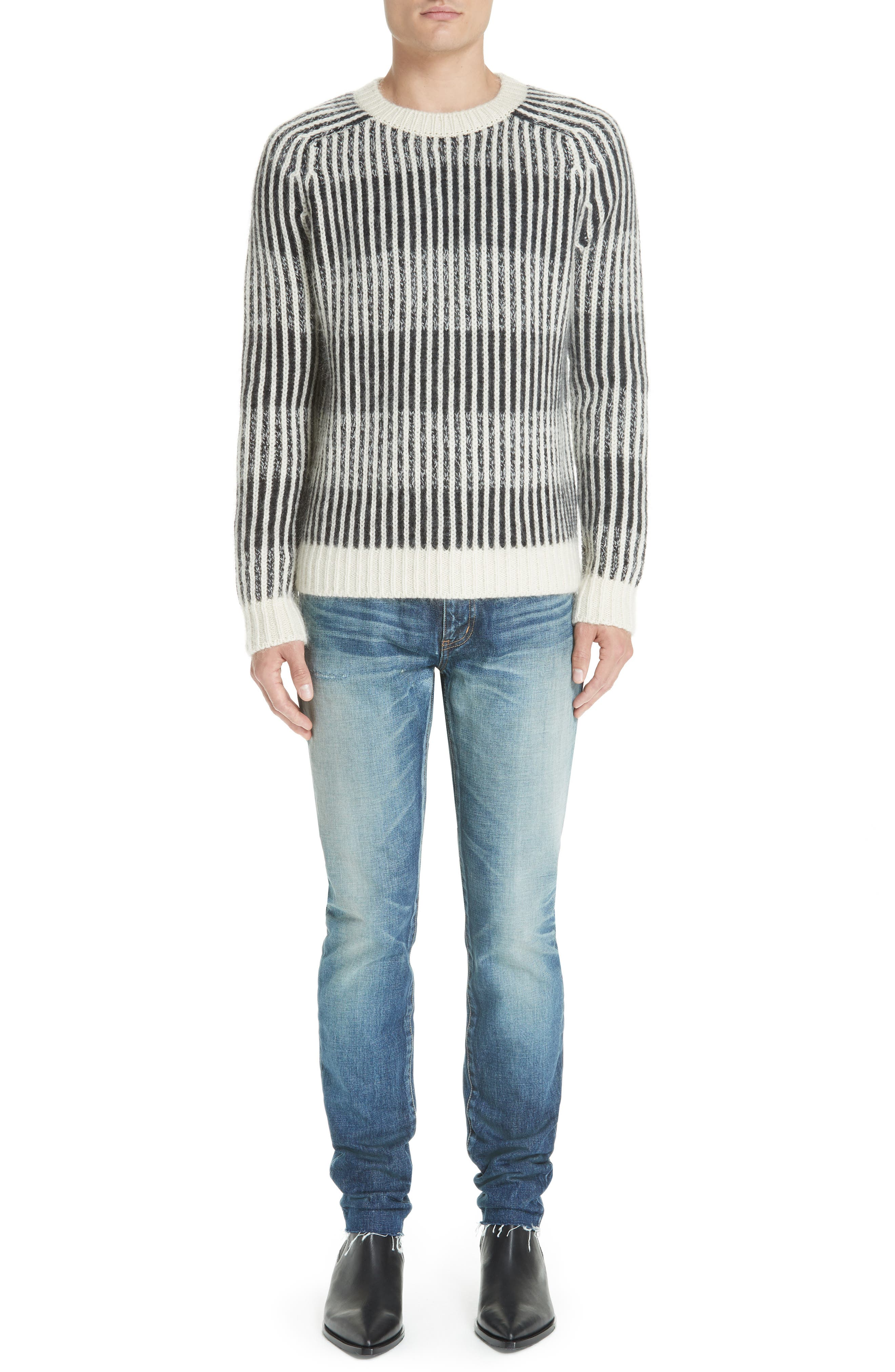 SAINT LAURENT,                             Contrast Rib Wool & Alpaca Blend Sweater,                             Alternate thumbnail 7, color,                             134