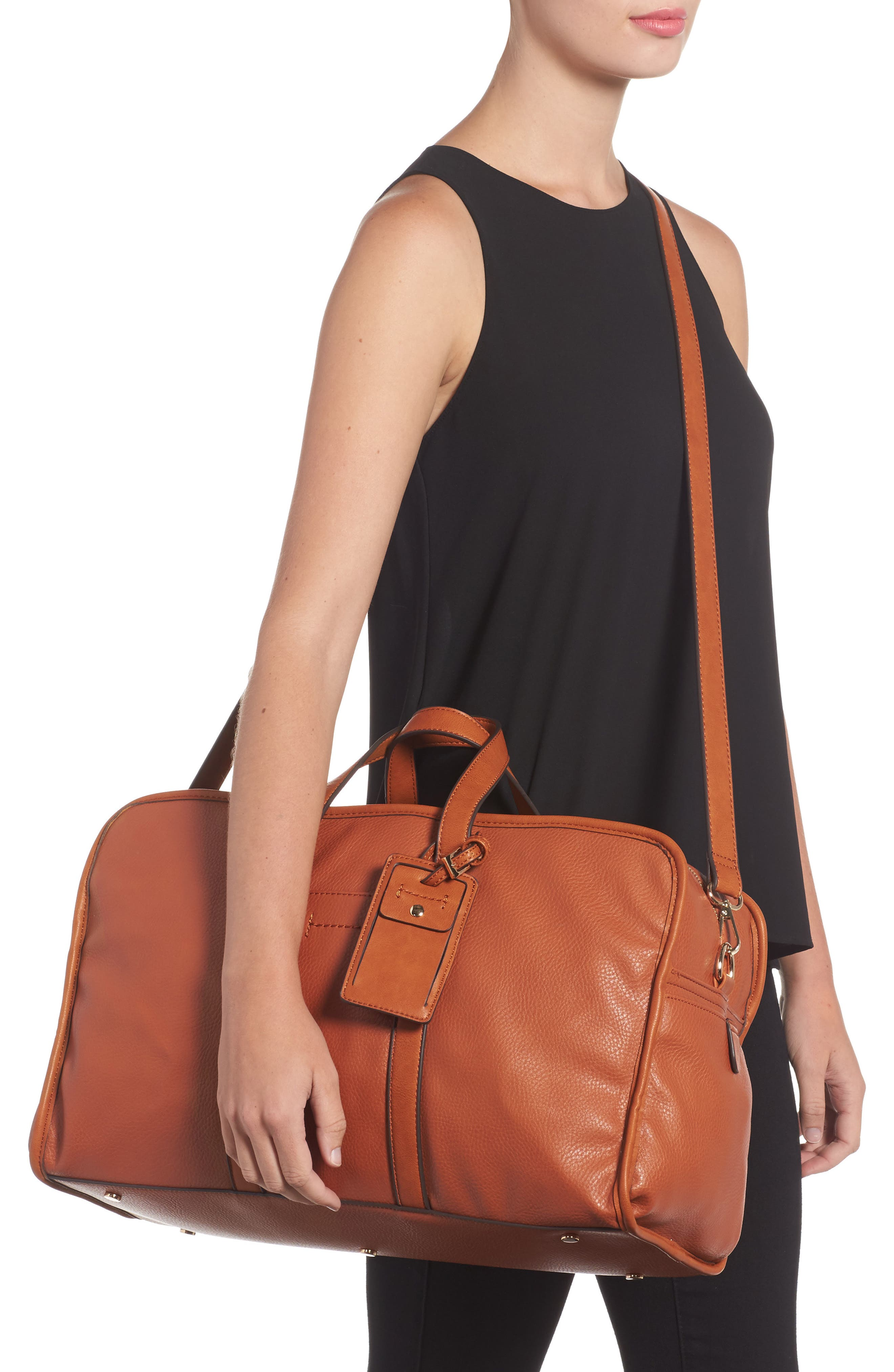 Doxin Faux Leather Duffel Bag,                             Alternate thumbnail 4, color,
