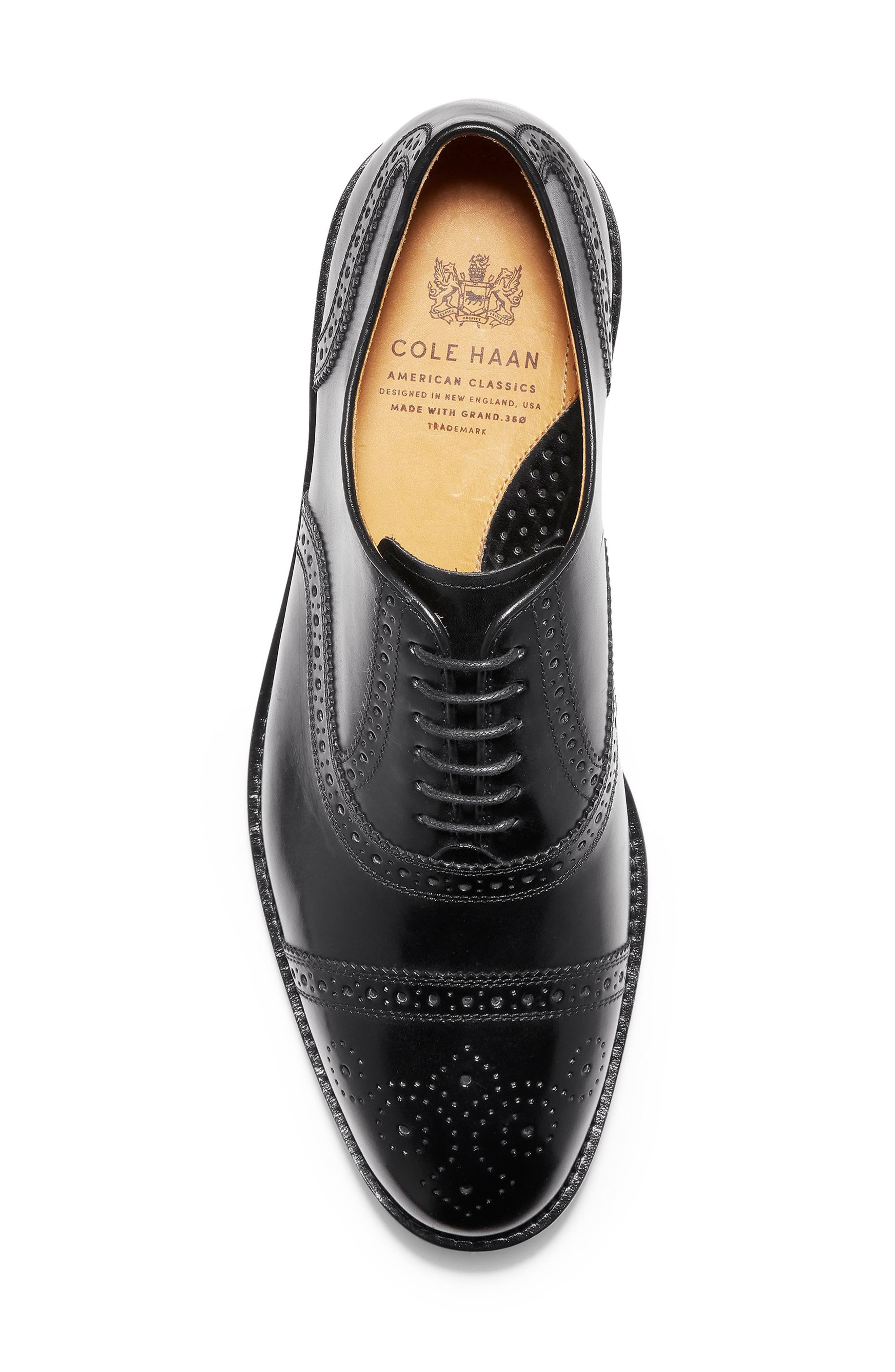 American Classics Kneeland Cap Toe Oxford,                             Alternate thumbnail 5, color,                             BLACK LEATHER