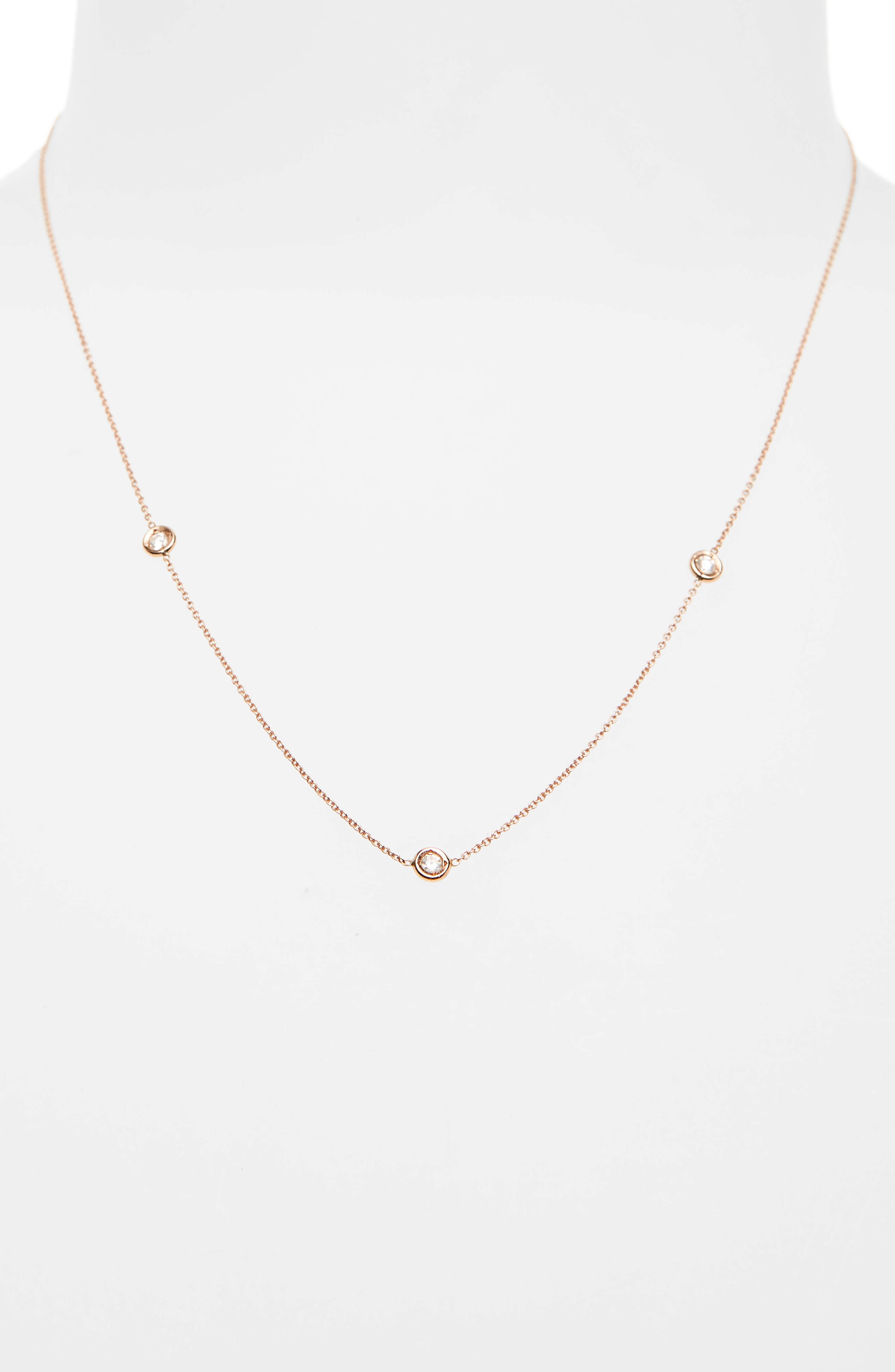 ROBERTO COIN,                             3-Station Diamond Necklace,                             Alternate thumbnail 2, color,                             ROSE GOLD