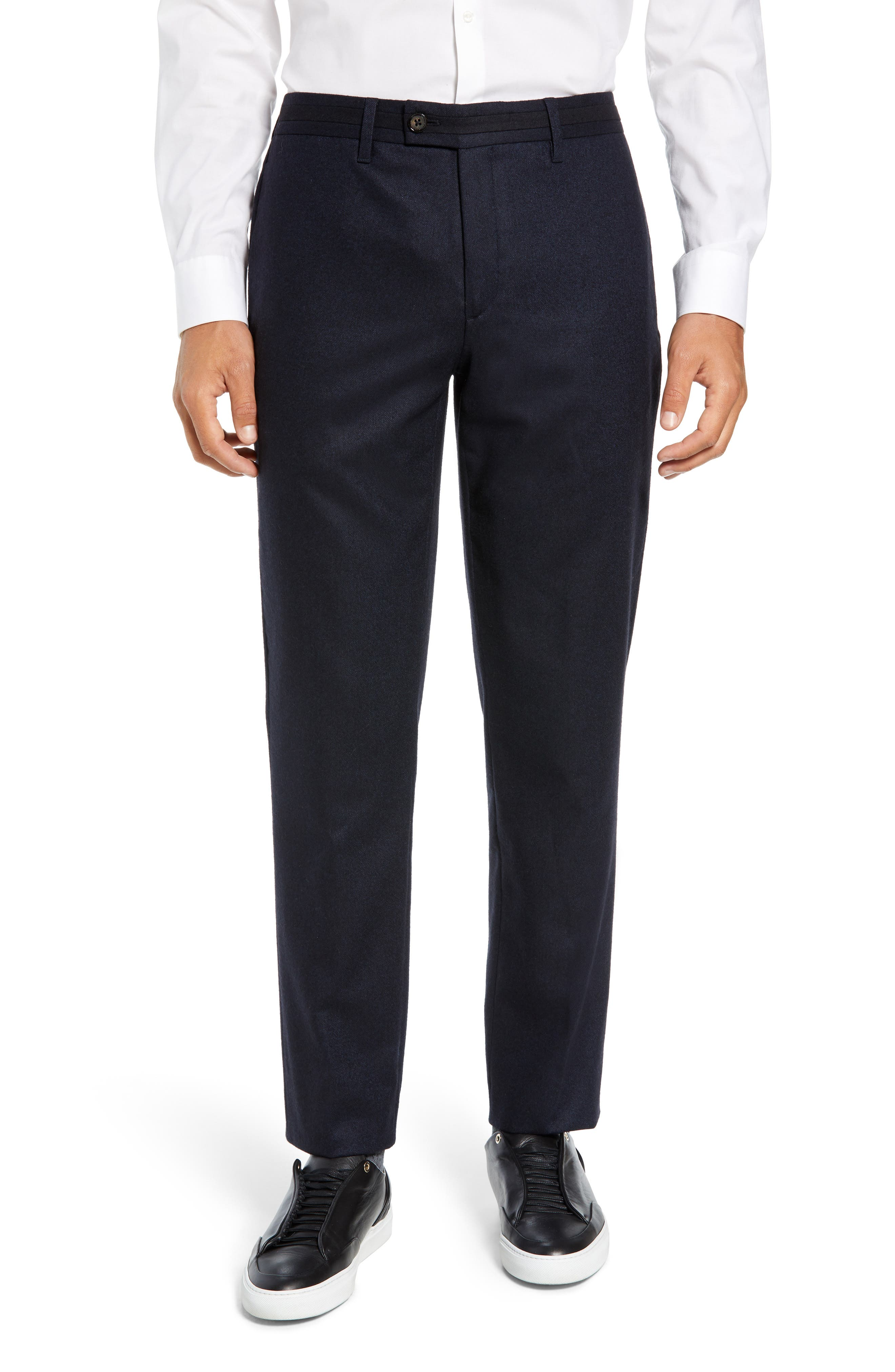 Matztro Trim Fit Wool Blend Trousers,                             Main thumbnail 1, color,                             NAVY