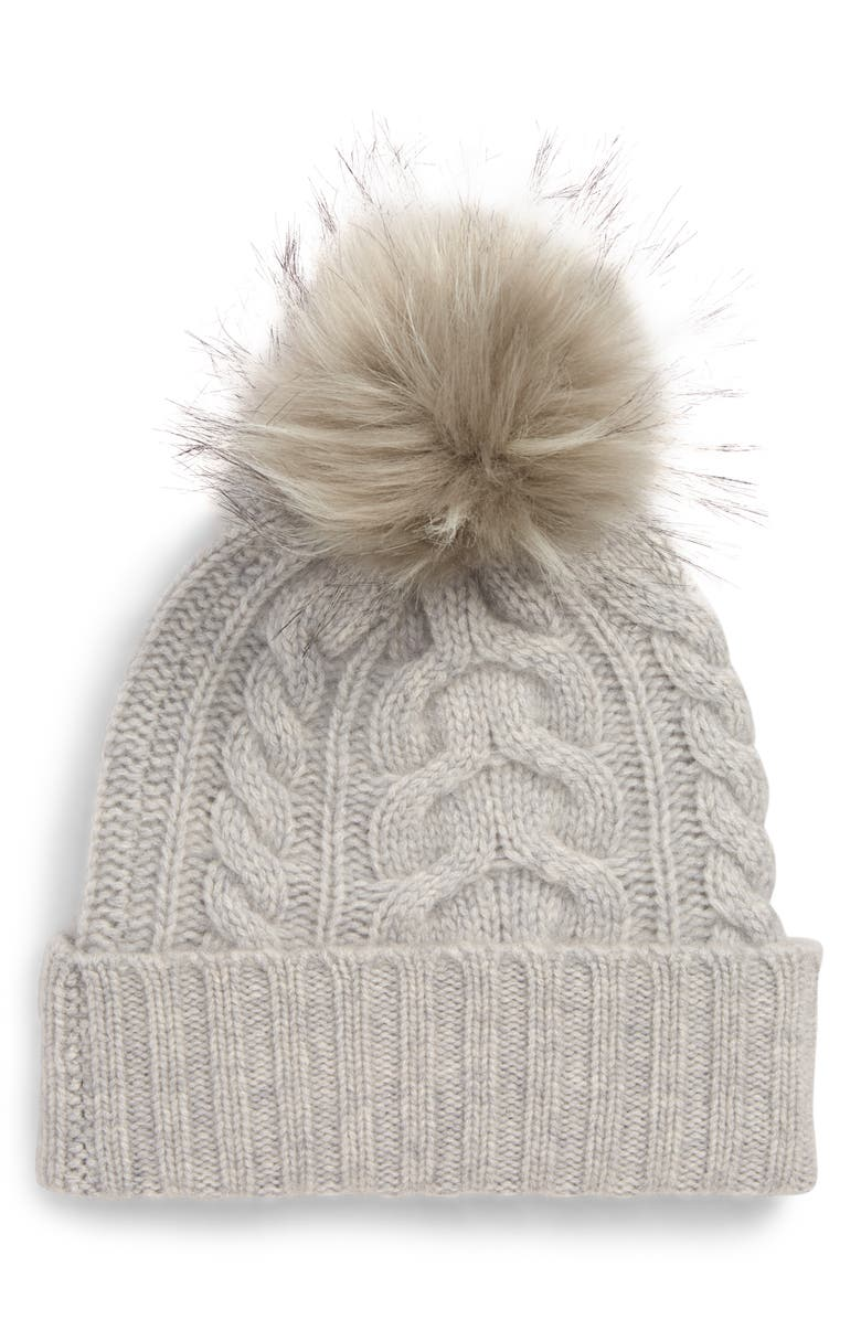 Cashmere Cable Knit Beanie with Faux Fur Pom,                         Main,                         color, GREY SOFT HEATHER