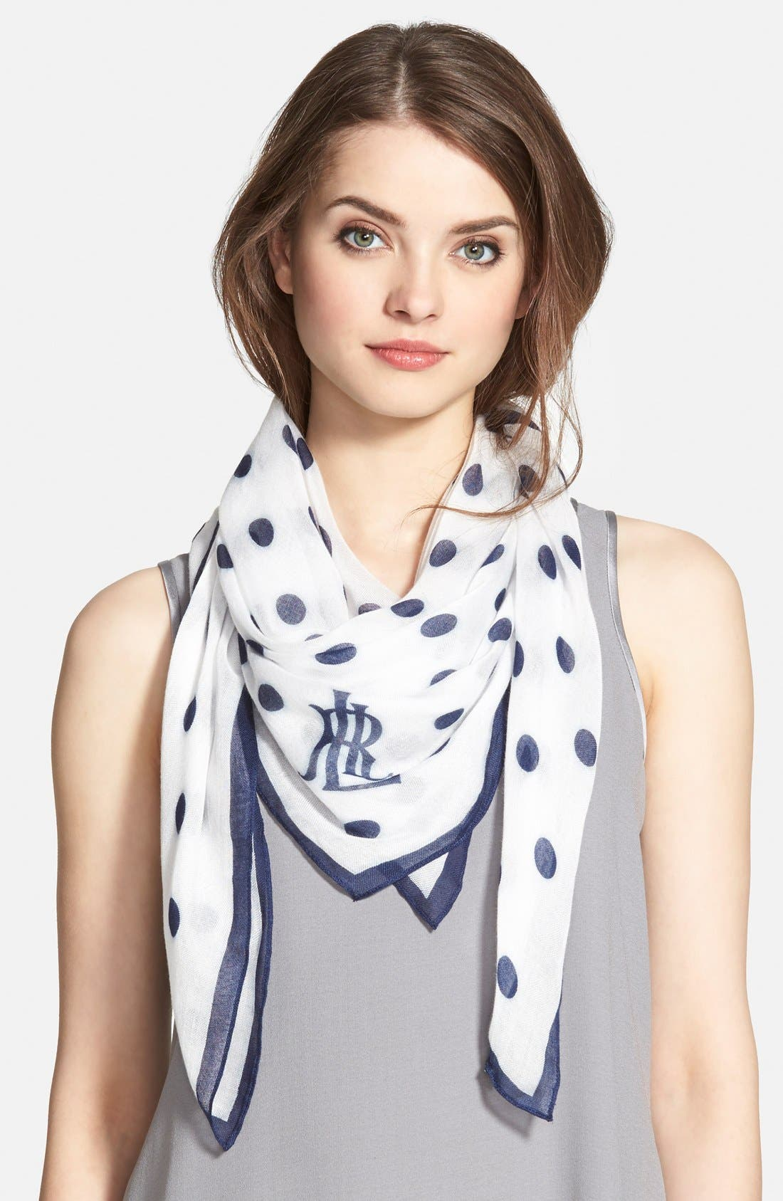 Dot Print Square Scarf,                         Main,                         color, 100