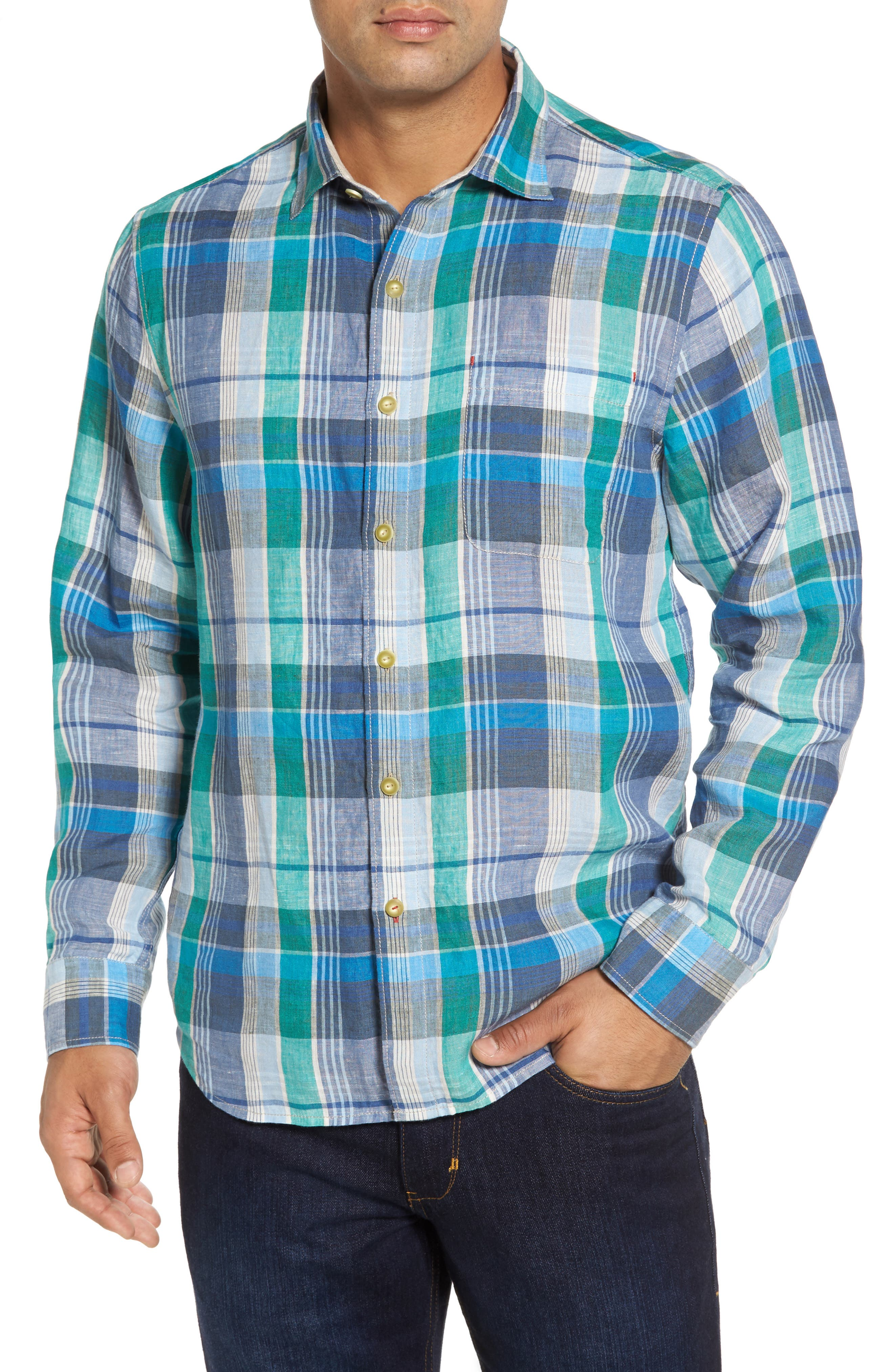 TOMMY BAHAMA,                             Vero Beach Madras Plaid Linen Sport Shirt,                             Main thumbnail 1, color,                             300