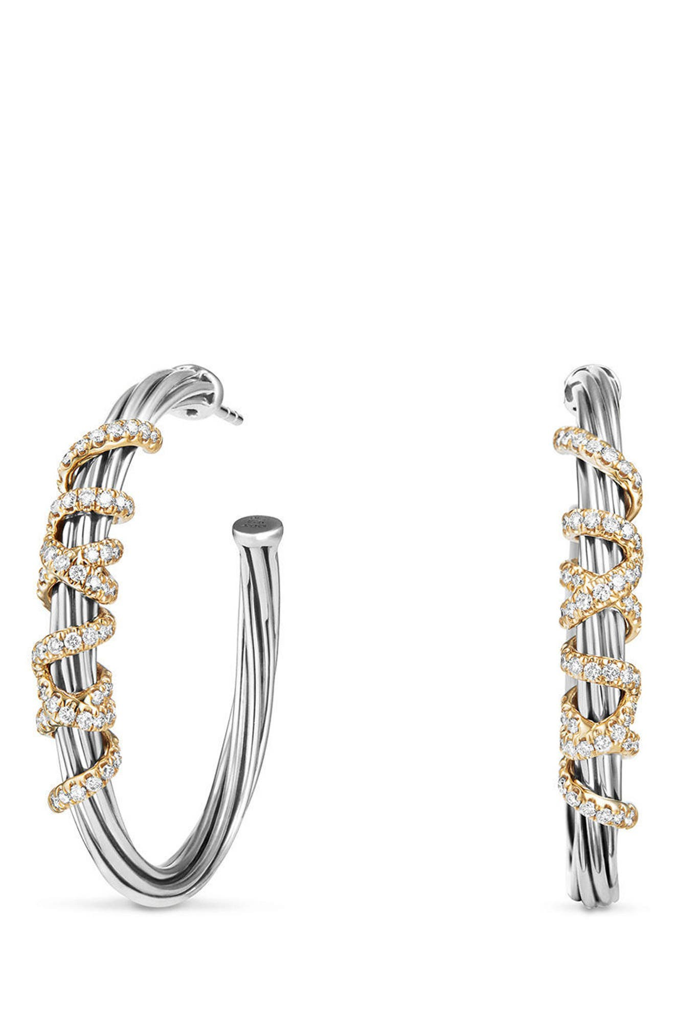 Helena Large Hoop Earrings with Diamonds & 18K Gold,                             Main thumbnail 1, color,                             SILVER/ GOLD