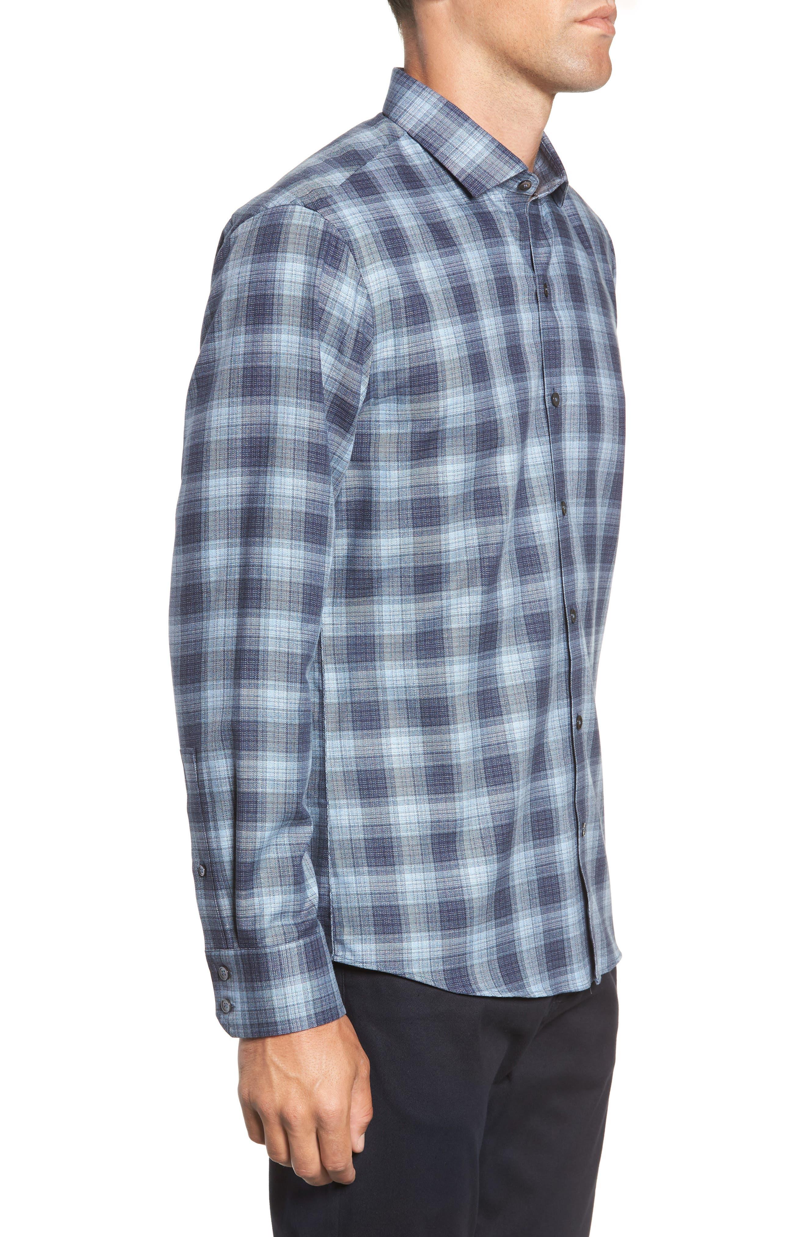 Oris Regular Fit Check Sport Shirt,                             Alternate thumbnail 4, color,                             BLUE