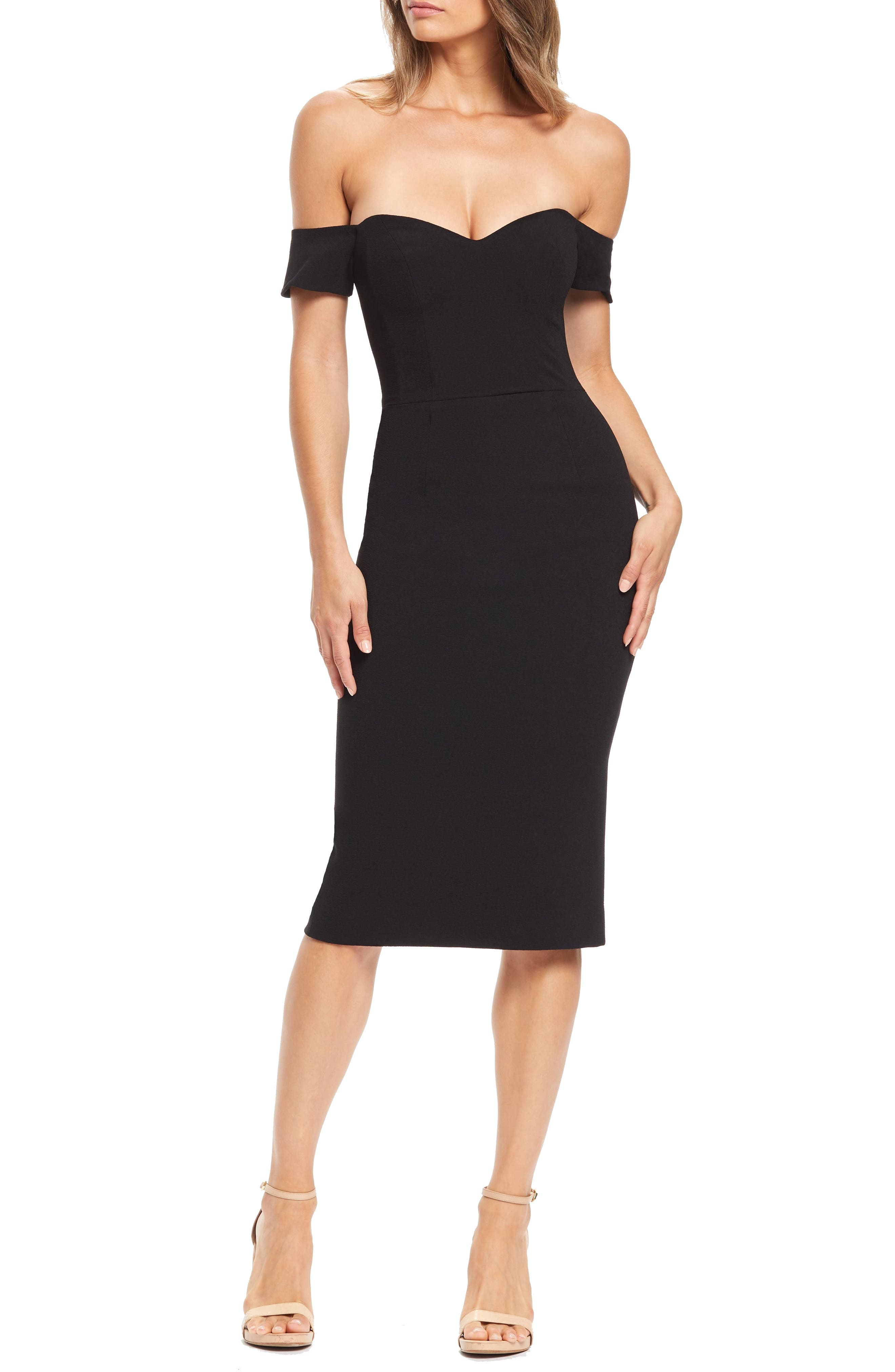 Dress The Population Bailey Off The Shoulder Body-Con Dress, Black