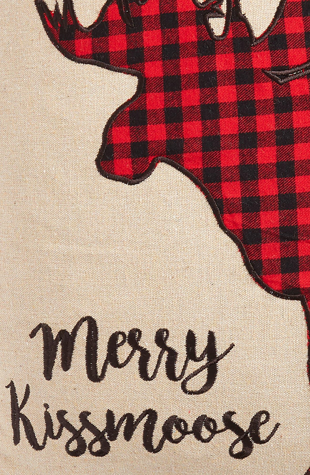 Plaid Merry Kissmoose Accent Pillow,                             Alternate thumbnail 3, color,                             900
