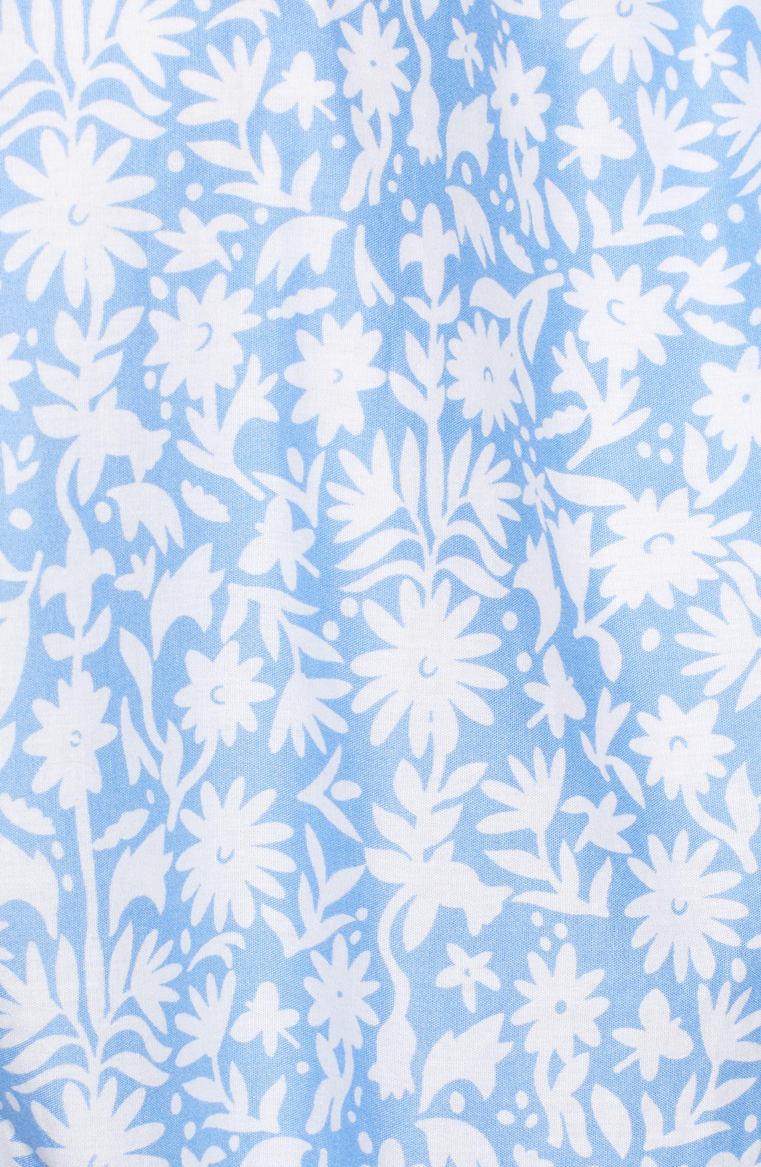 Otomi Print Off the Shoulder Cotton Romper,                             Alternate thumbnail 5, color,                             HYDRANGEA