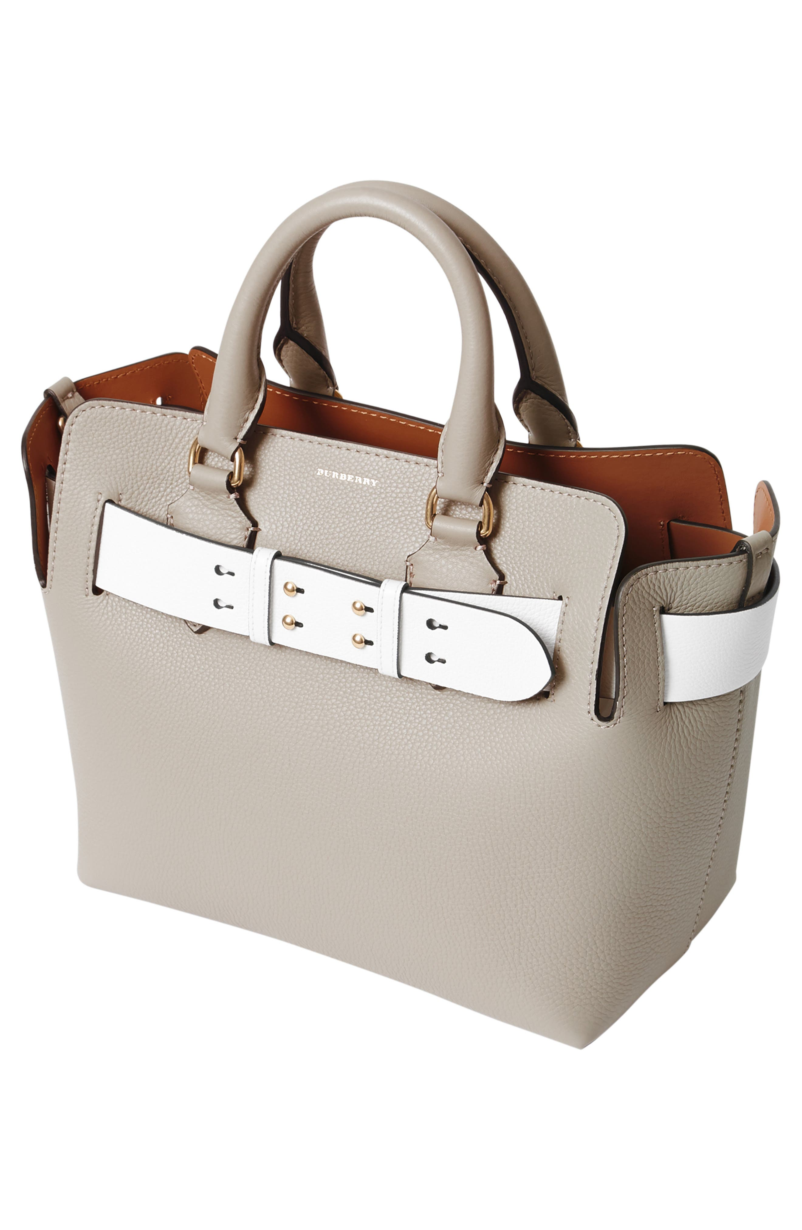 Small Contrast Belt Leather Tote,                             Alternate thumbnail 5, color,                             MINERAL GREY