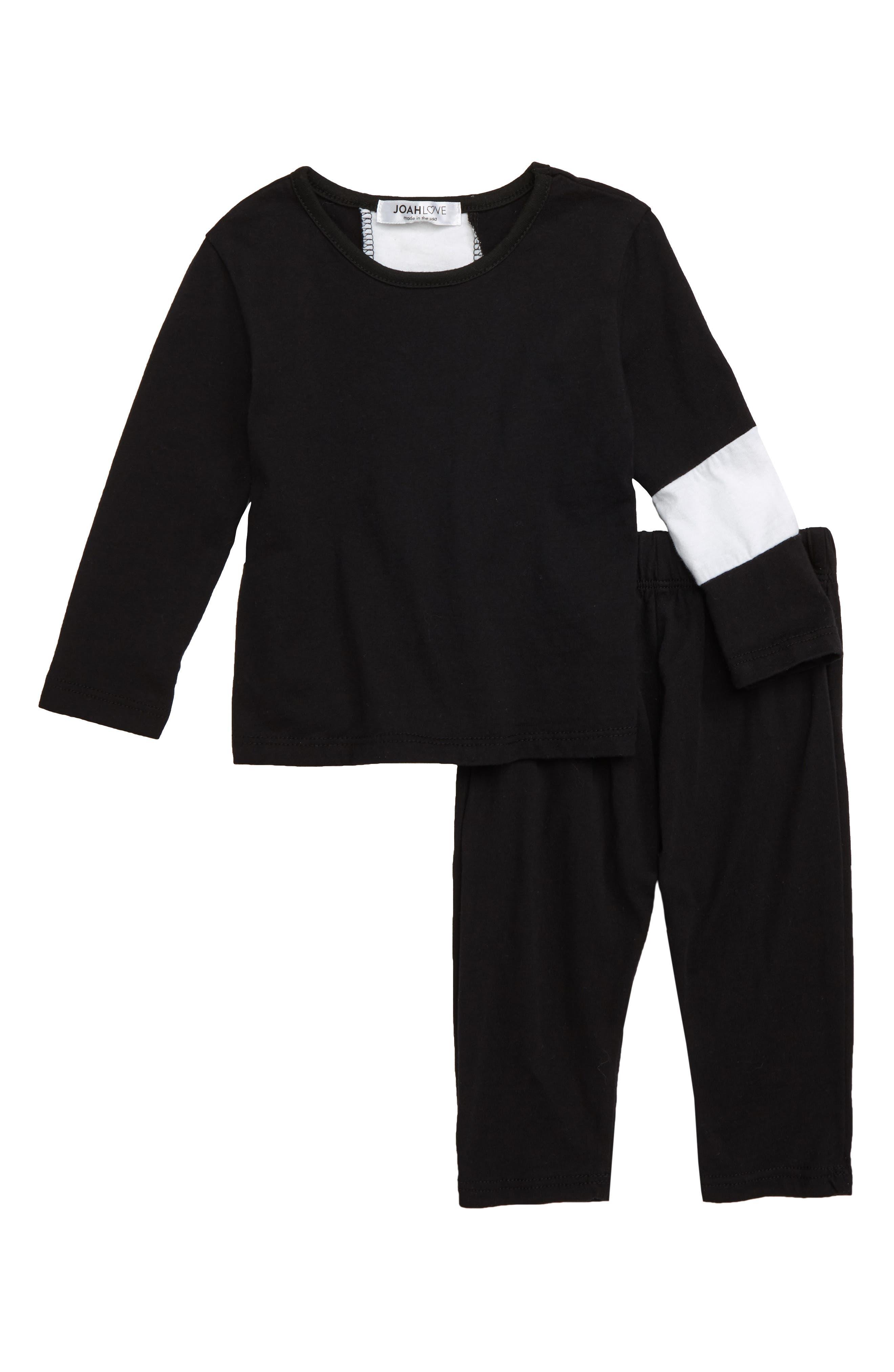 Colorblock Top & Pants Set, Main, color, BLACK