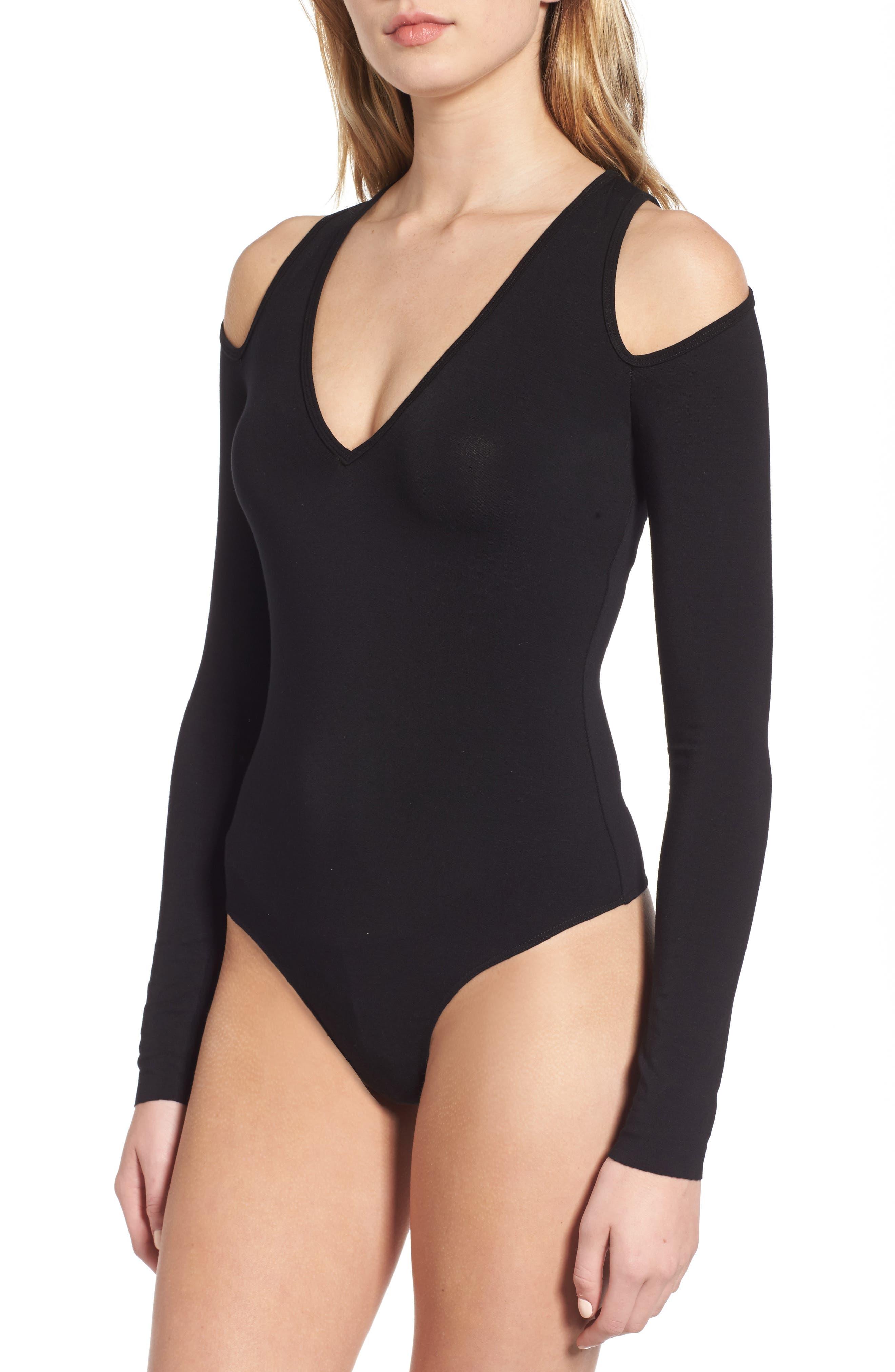 Patricia Cold Shoulder Bodysuit,                             Alternate thumbnail 2, color,                             001