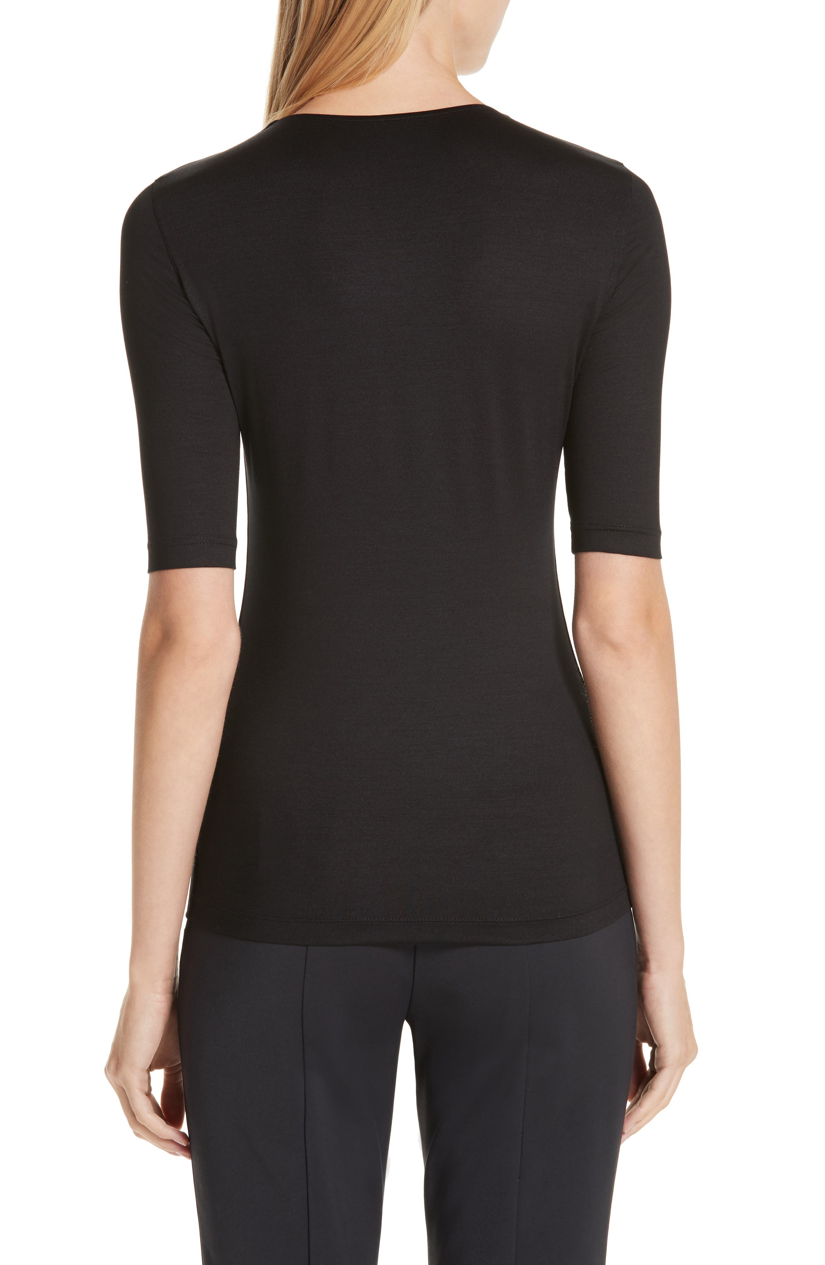Stretch Silk Jersey Top,                             Alternate thumbnail 2, color,                             009-BLACK