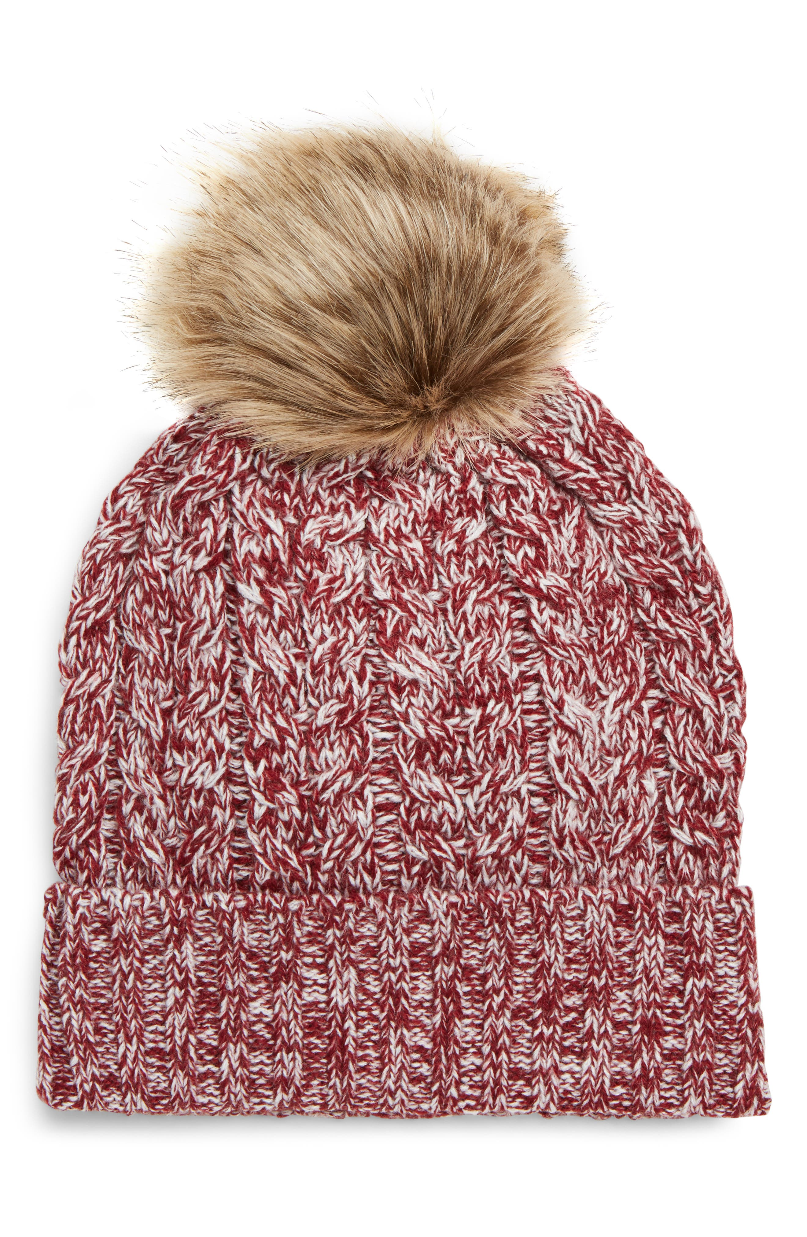 Cable Knit Beanie with Faux Fur Pom,                             Main thumbnail 1, color,                             OXBLOOD