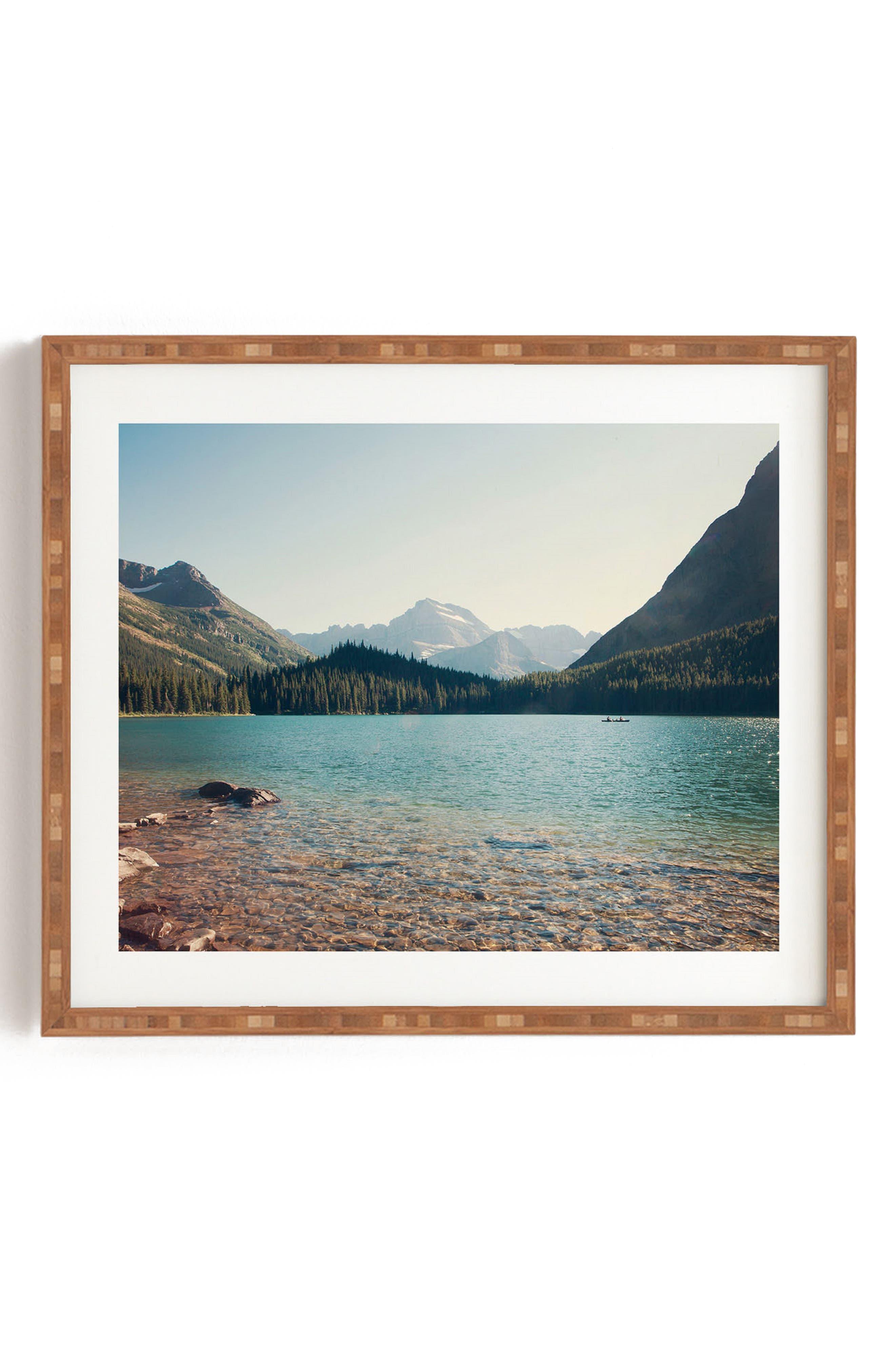 DENY DESIGNS,                             Catherine McDonald - Glacier Summer Framed Wall Art,                             Main thumbnail 1, color,                             GREEN
